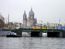 amsterdam church tram water bridge nicolaas