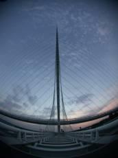 bridge wires suspension fisheye evening