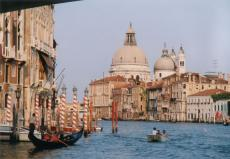 venice canal canals river rivers water city italy italian striped poles gondola