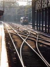 railway station tracks evening twilight