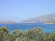 nature landscapes bay greece hills water trees cables aqua mediterenean