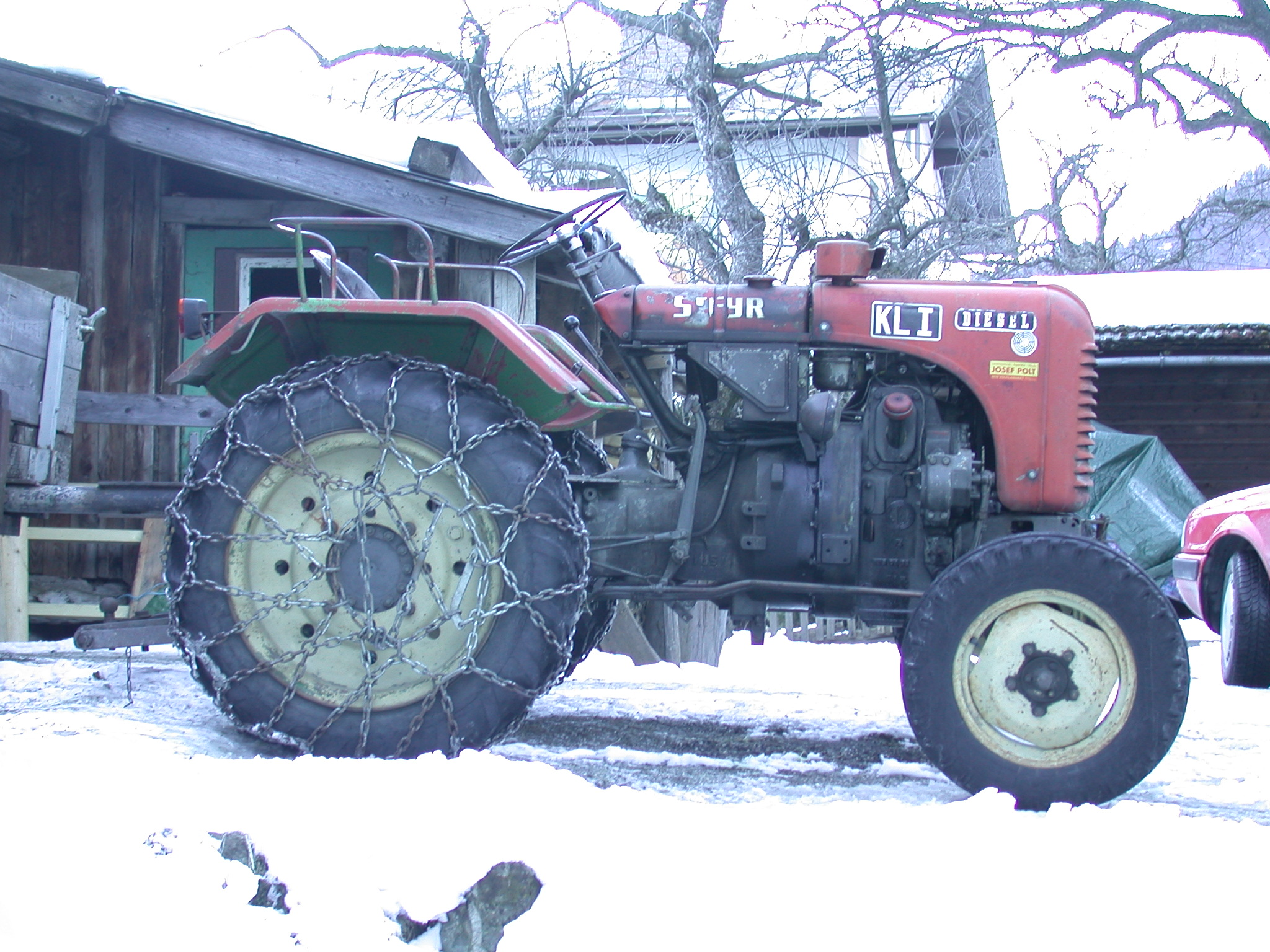 Image After images tractor chains chained snow wheel