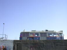 broken down tram vehicle public transport side