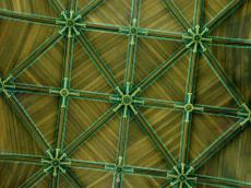 roof church green timber plank planks green ceiling brown gold ornament ornamental