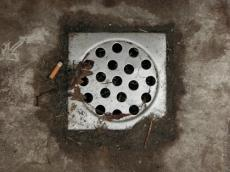 grounds drain metal square circle holes sewer fag