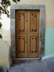wall stone painted wood wooden door