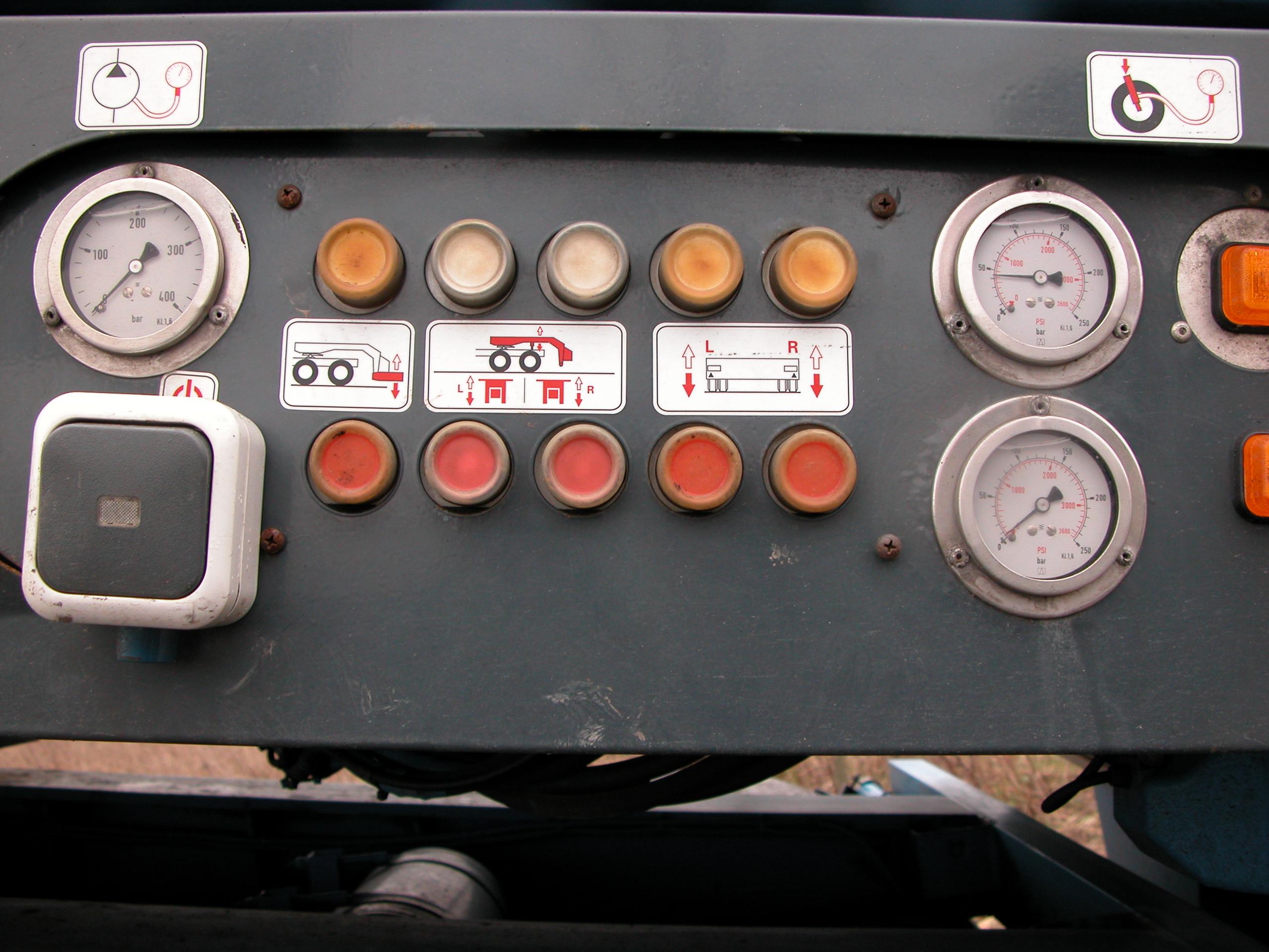 buttons dials gauge meters orange lights dashboard