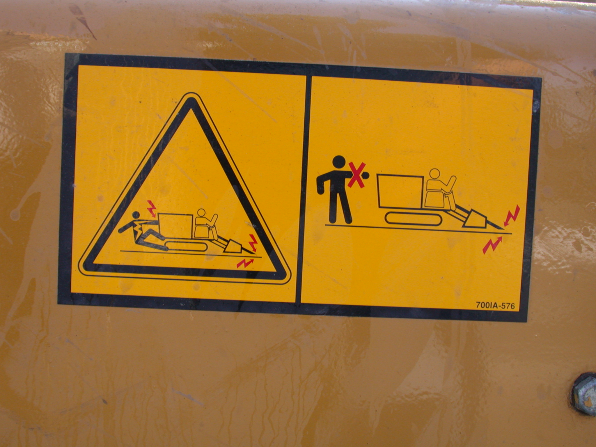 sign warning yellow black triangle shock danger vehicle do not touch electricity