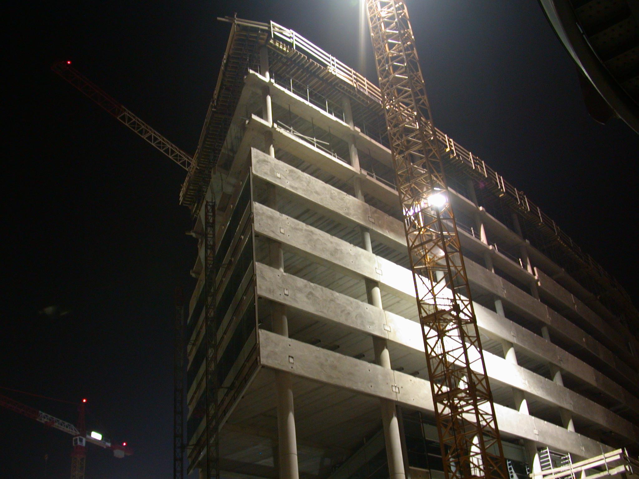 architecture exeriors buildingsite constructionsite site concrete night office building uwv