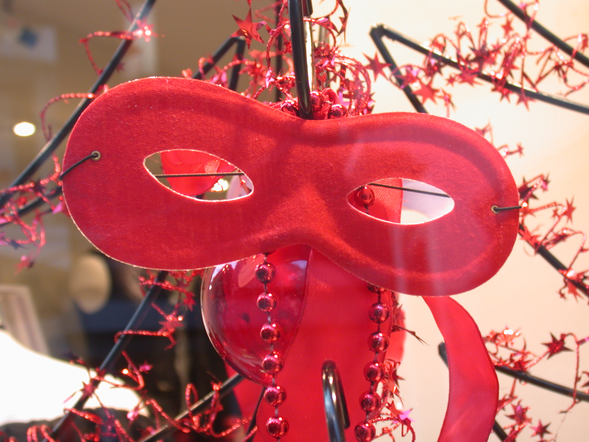 mask carnival red shadow cloth holes for eyes venice