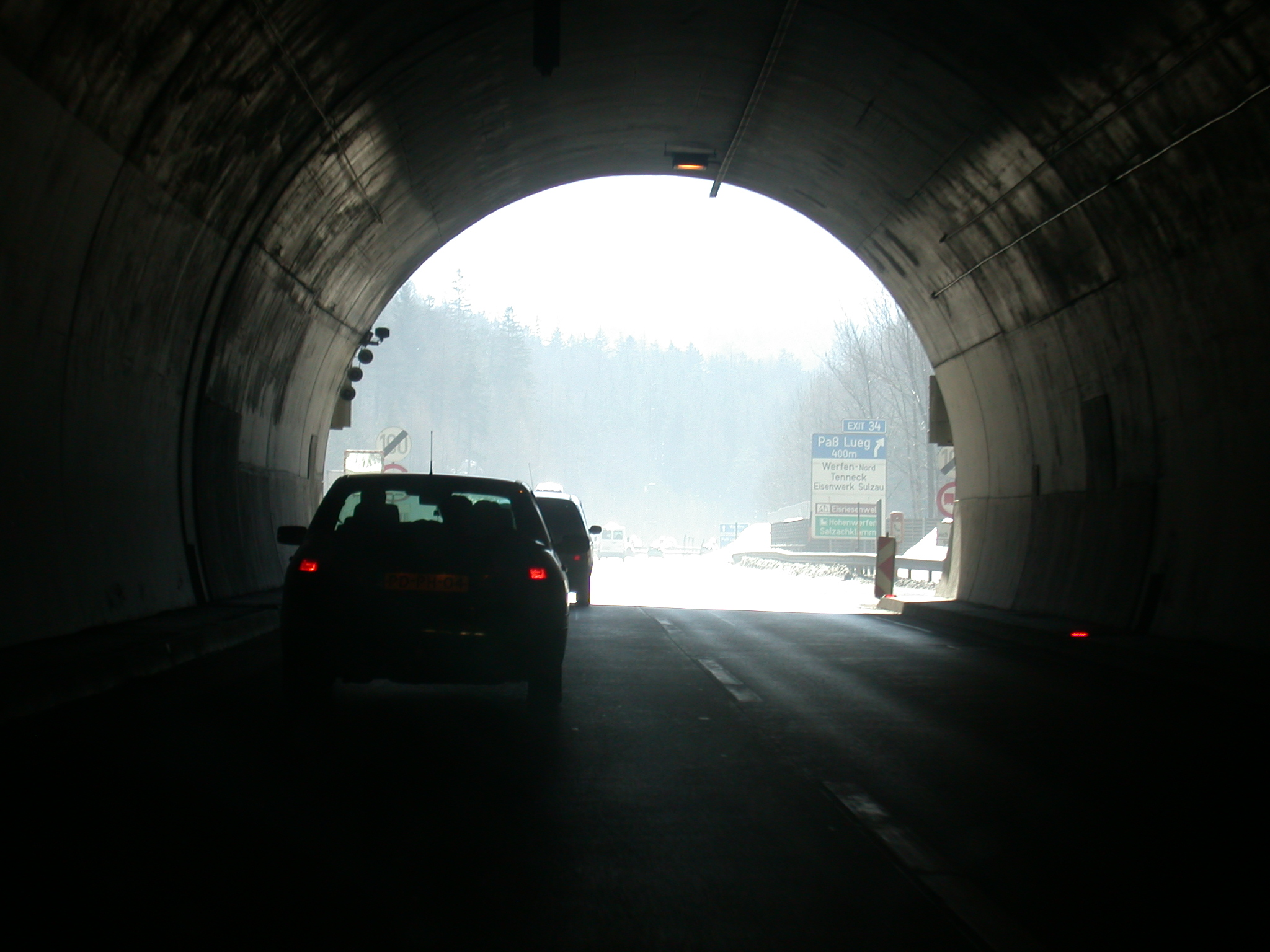 tunnel snow road cars mountain