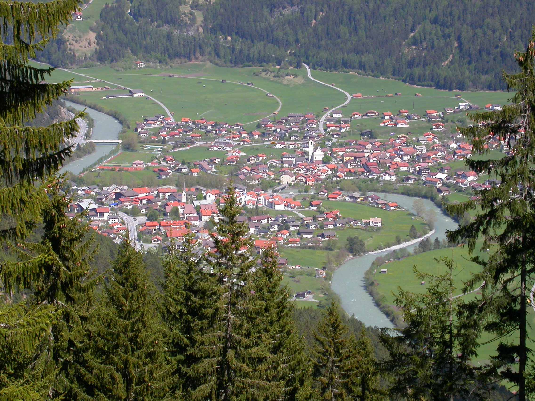 paul nature landscapes valley village alps trees ferntrees fern ferns houses city green river
