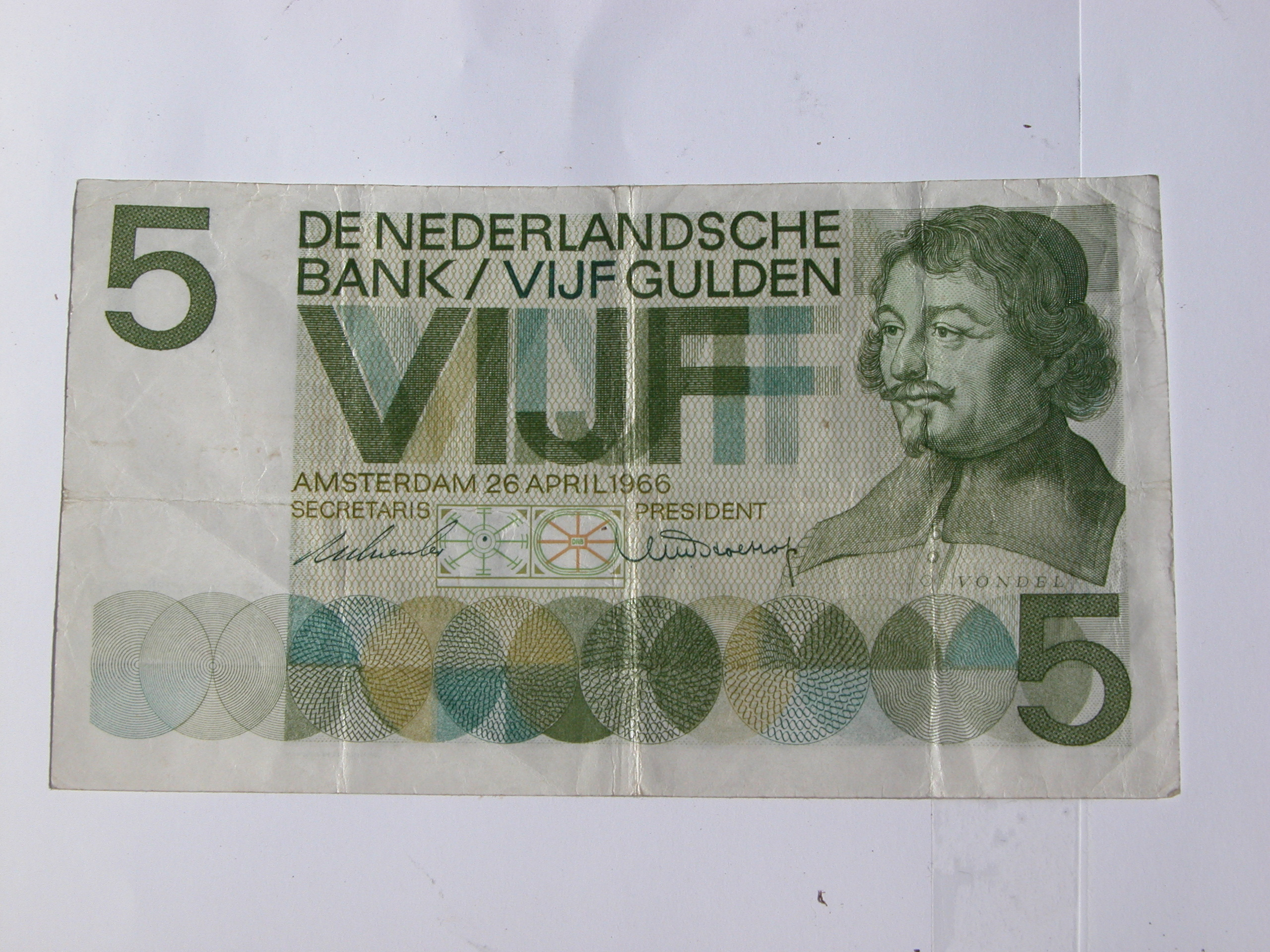old currency money 5 dutch guilders 5 gulden