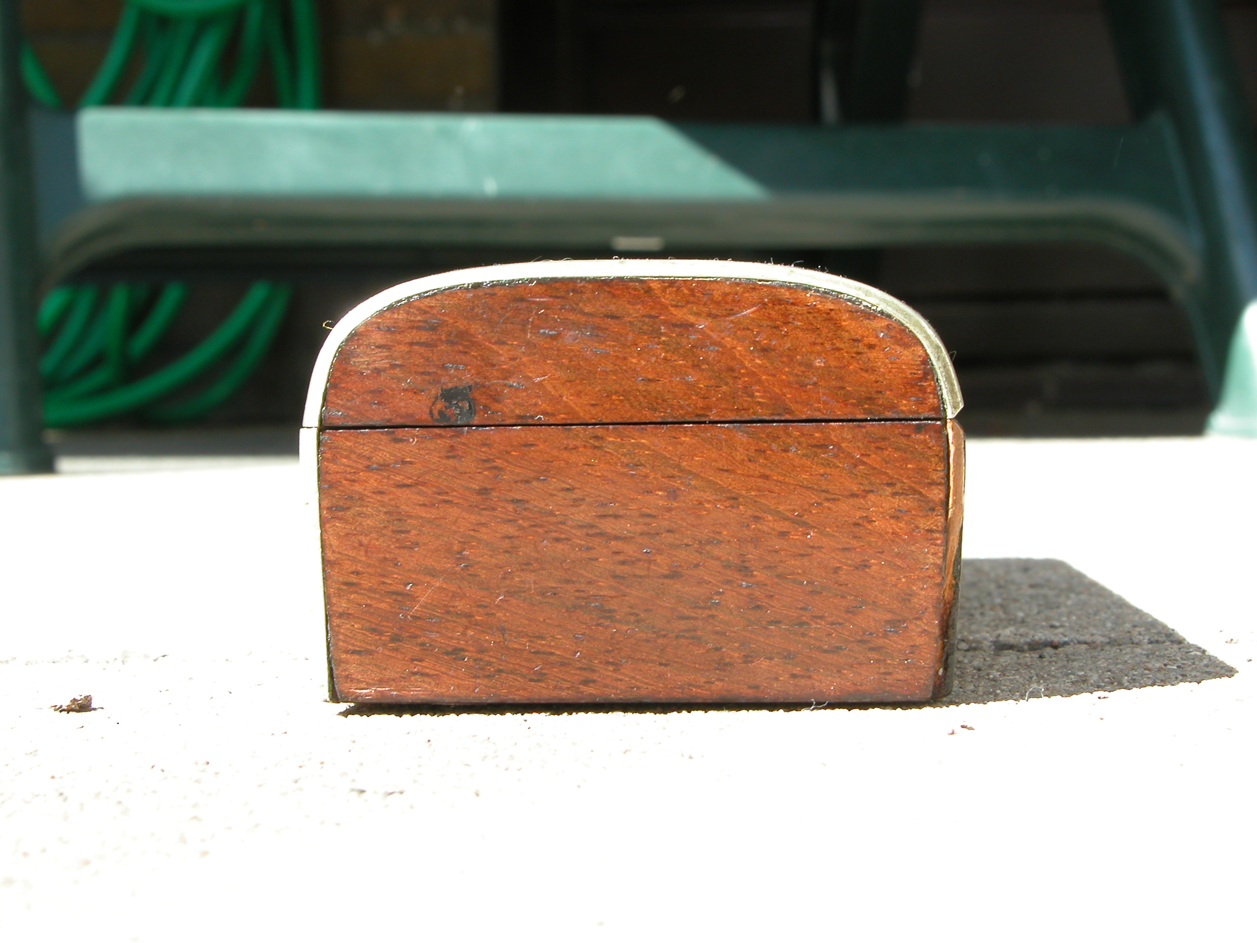 side panel wooden box wood small hard rounded edges brown smooth