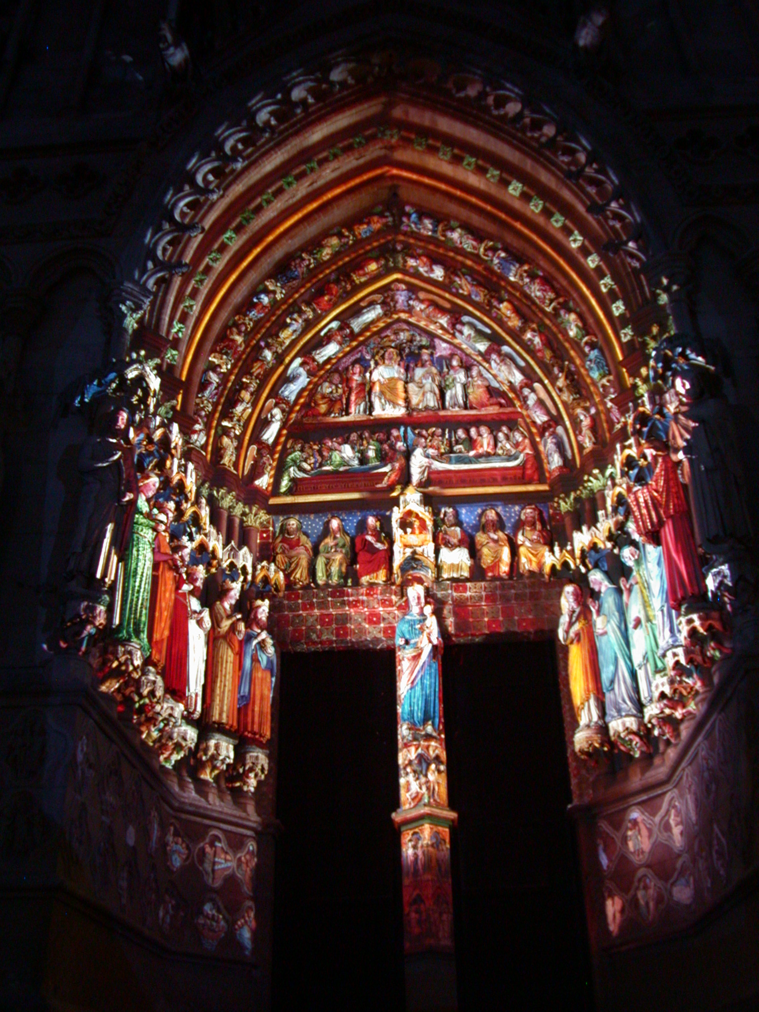 art sculptures gothic cathedral lit entrance architecture exteriors madonna saints