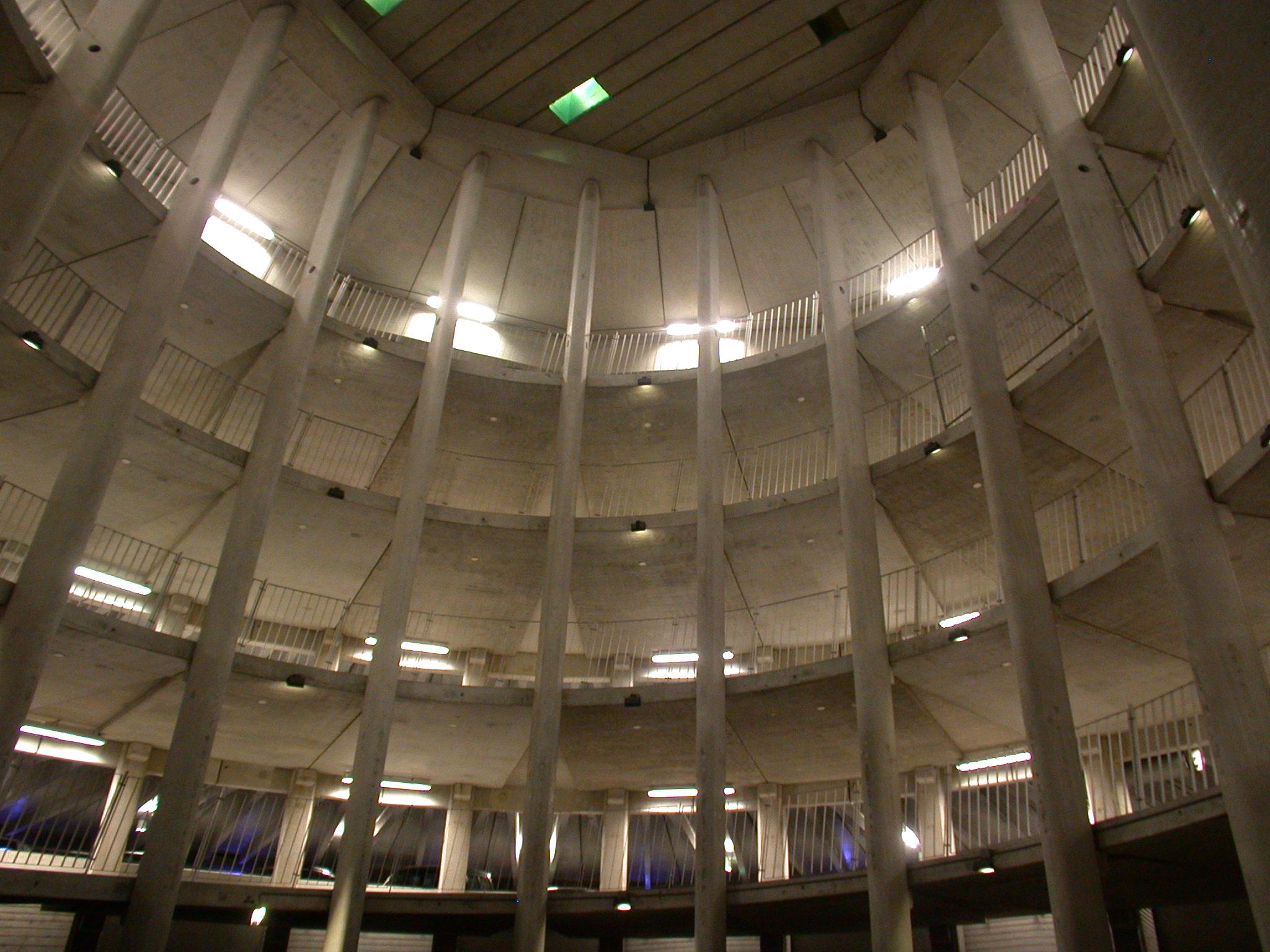 architecture interiors parkinglot parking carpark dome concrete spiral
