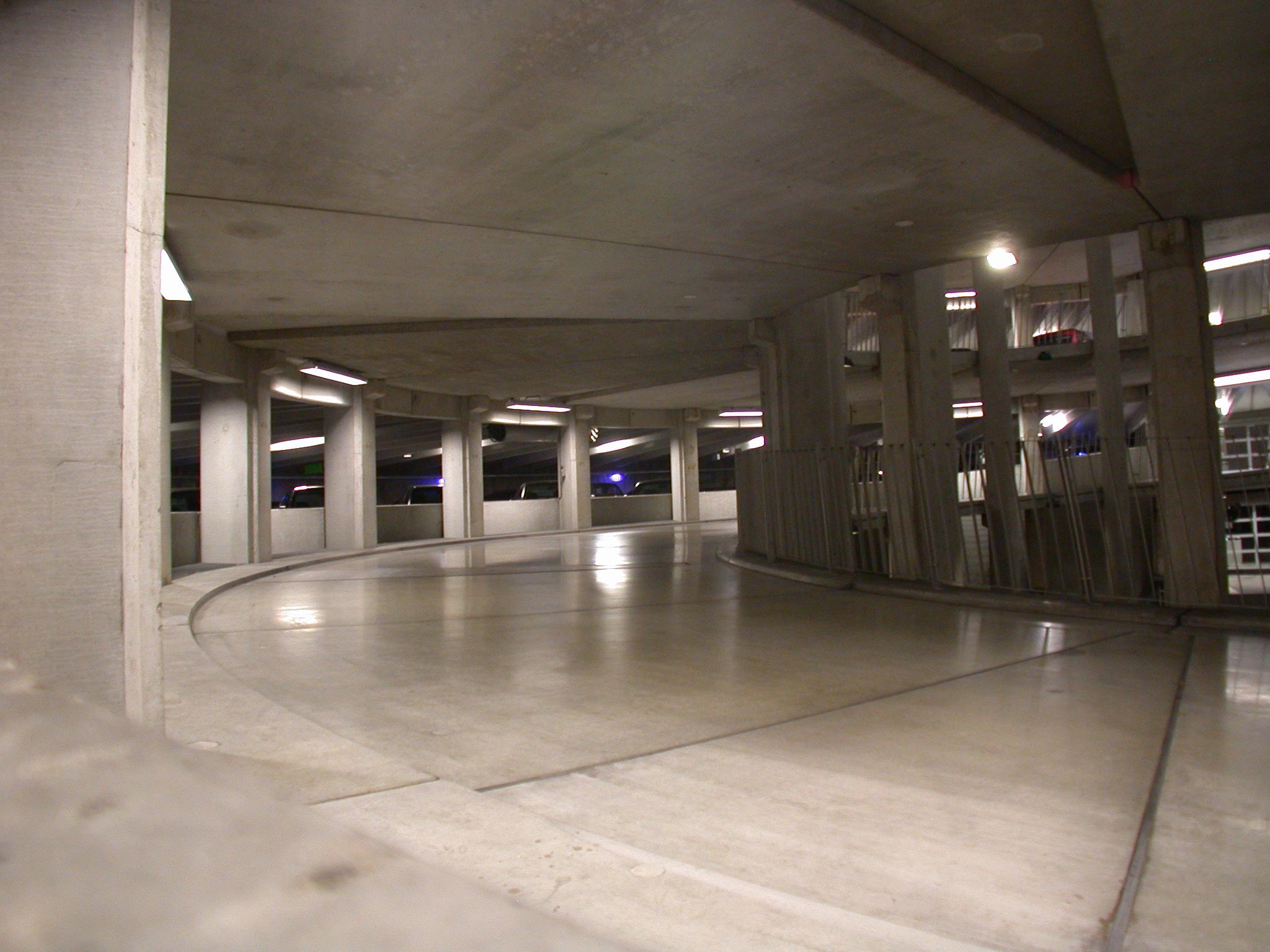 car park carpark parking floor empty space columns slippery floor glossy