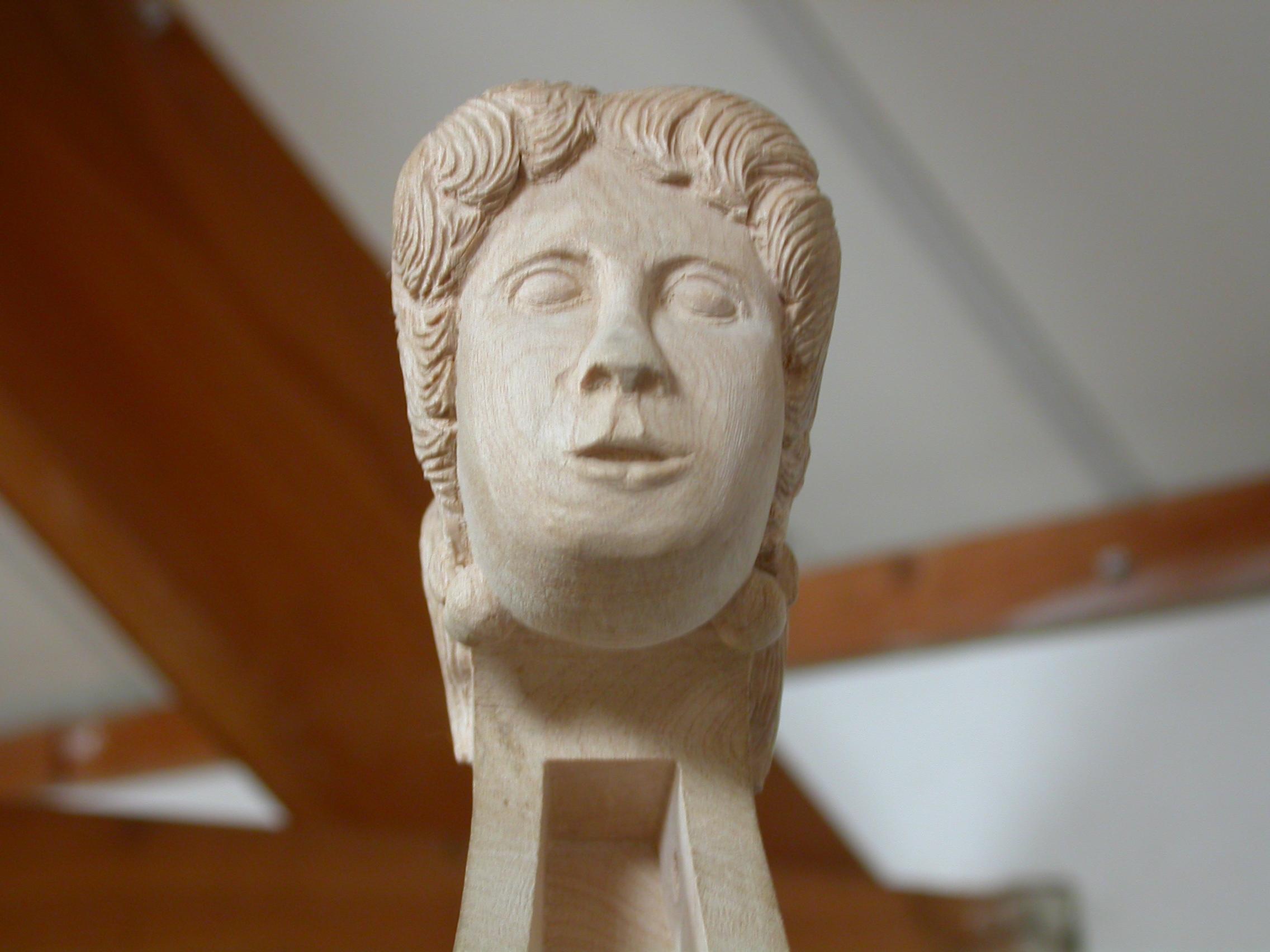 art sculptures human face wood statue bust