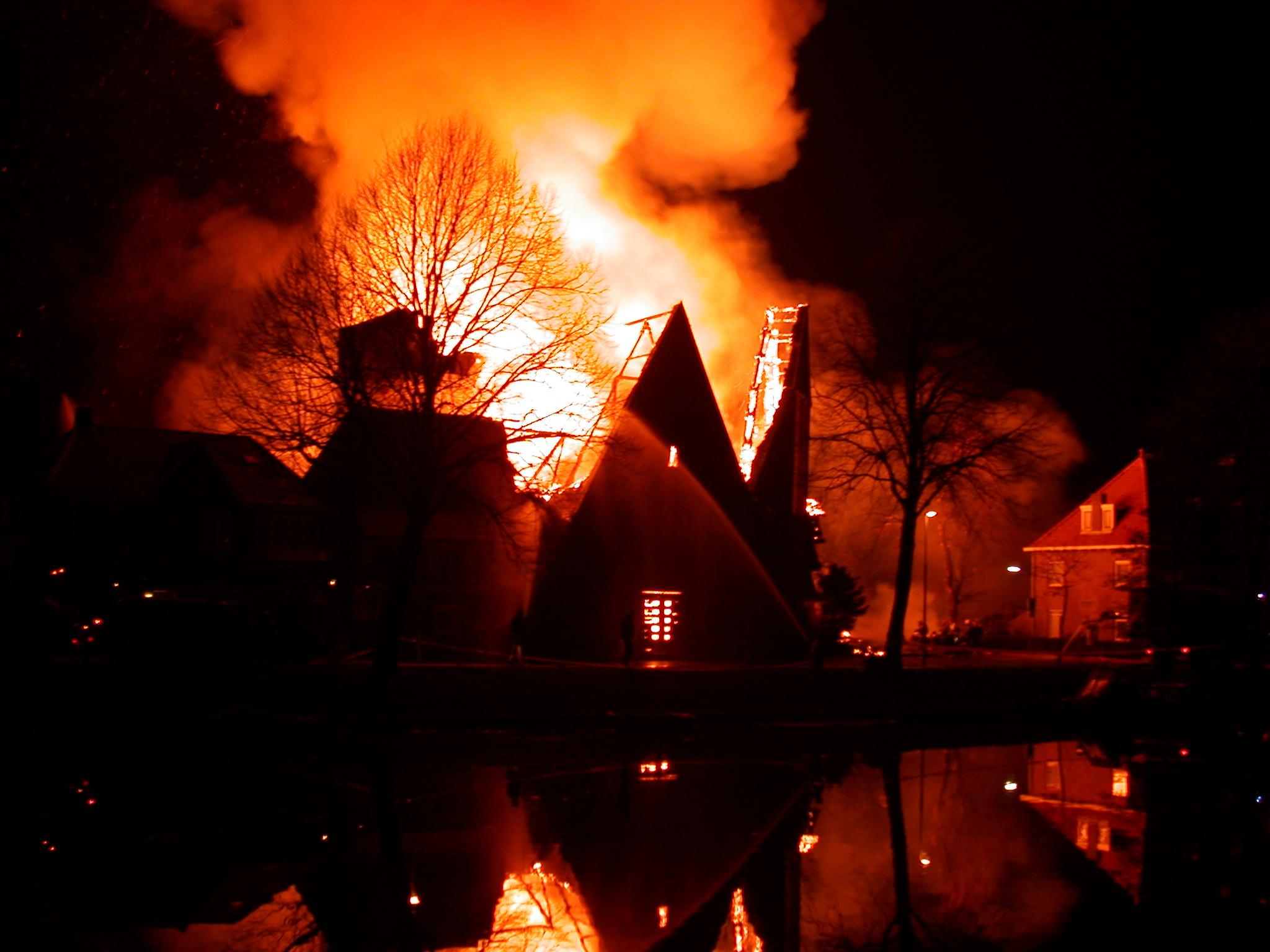 fire flame fireman firemen night flames burn burning dark red orange glow house going up in