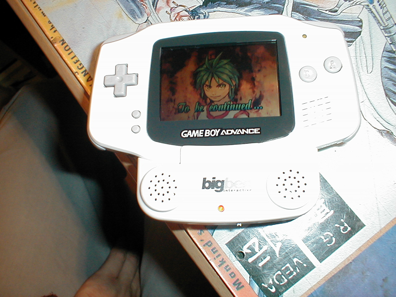 dario gameboy advance gba anime game Japanese white plastic handheld gaming device to be continued royalty