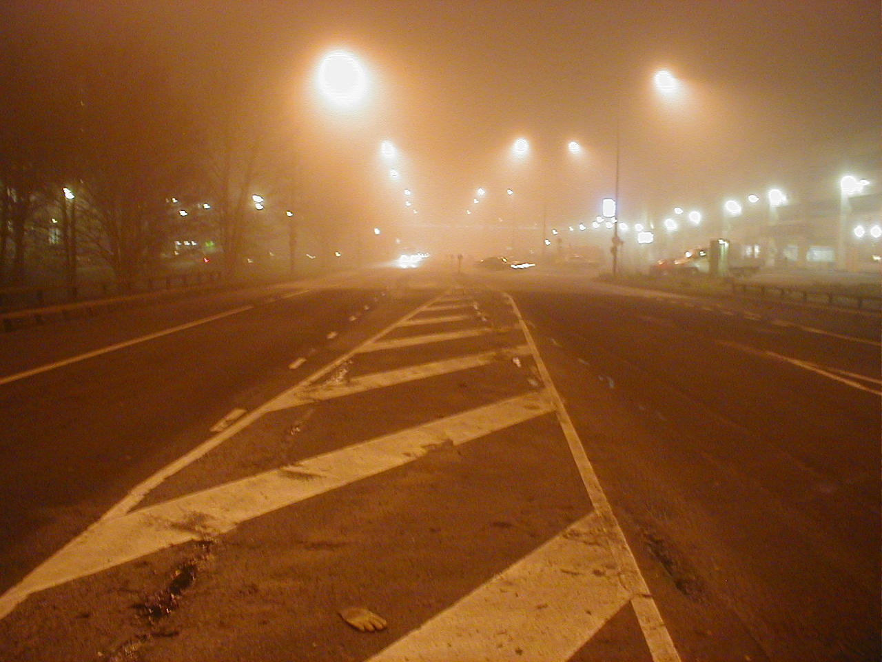 dario foggy highway road tarmac asphalt streetlights
