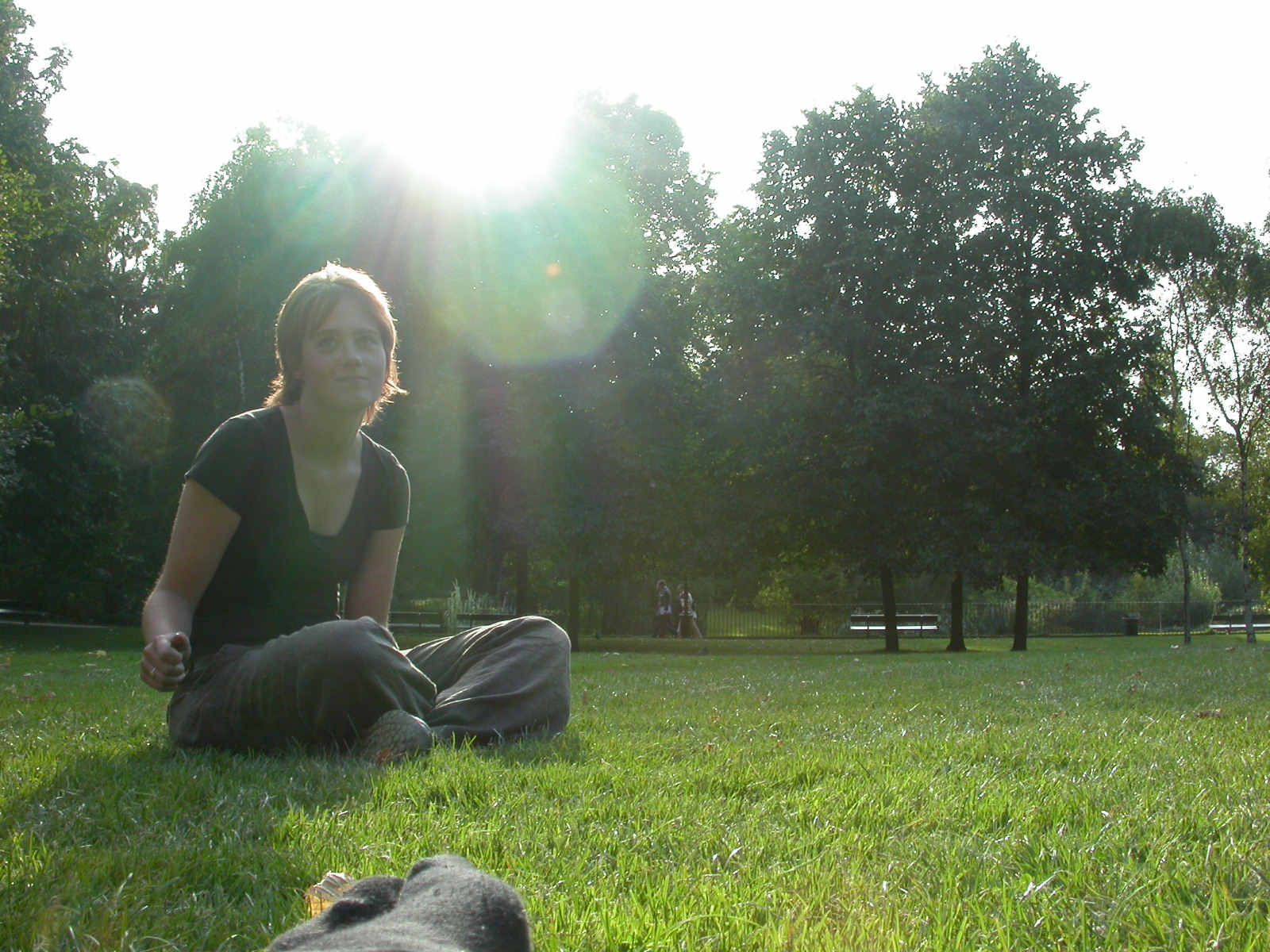 eva park sitting warm summer summer's day grass girl outdoors bright sunshine