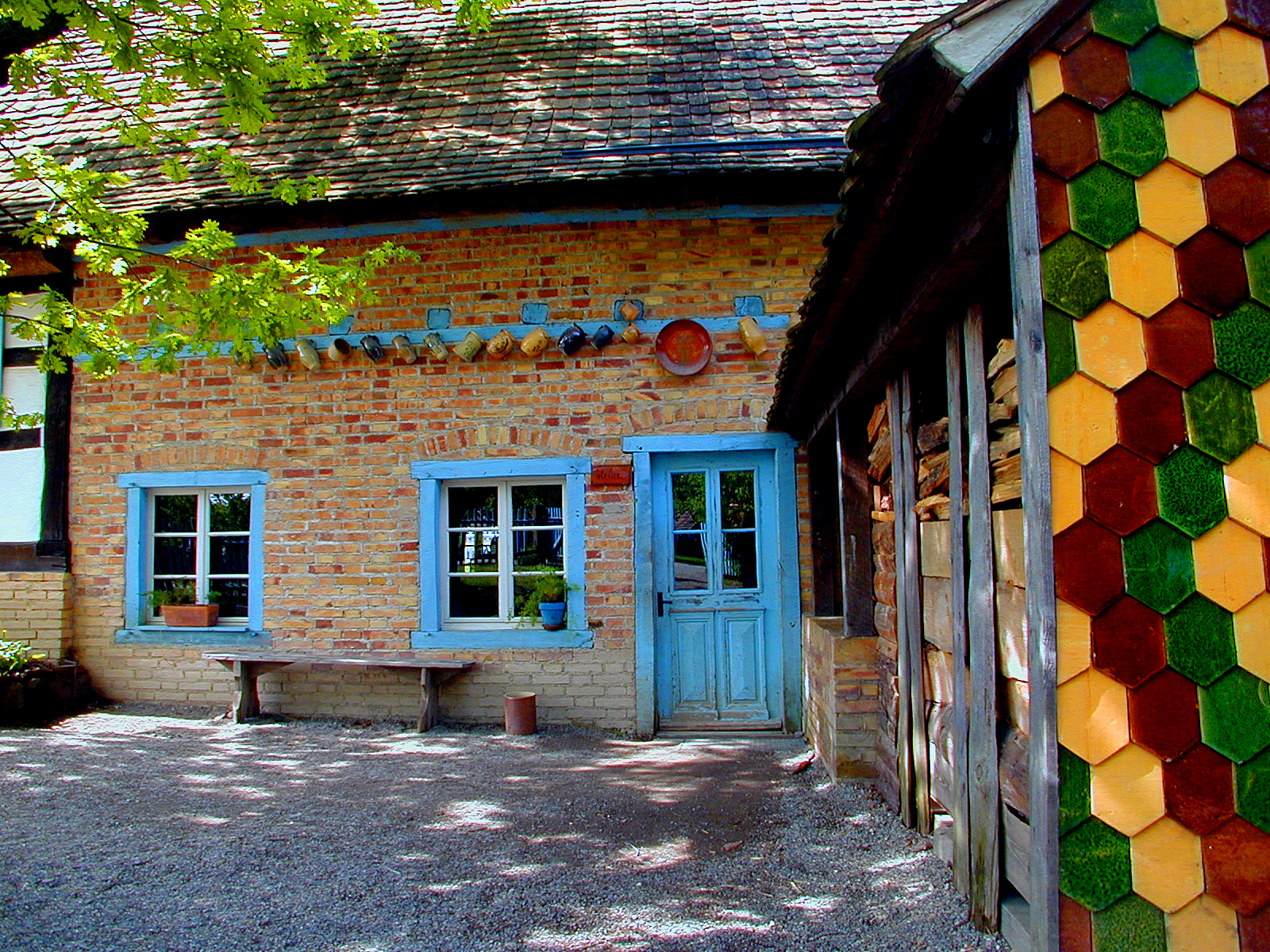 glubzo happy colored coloured house bright facade old building texture