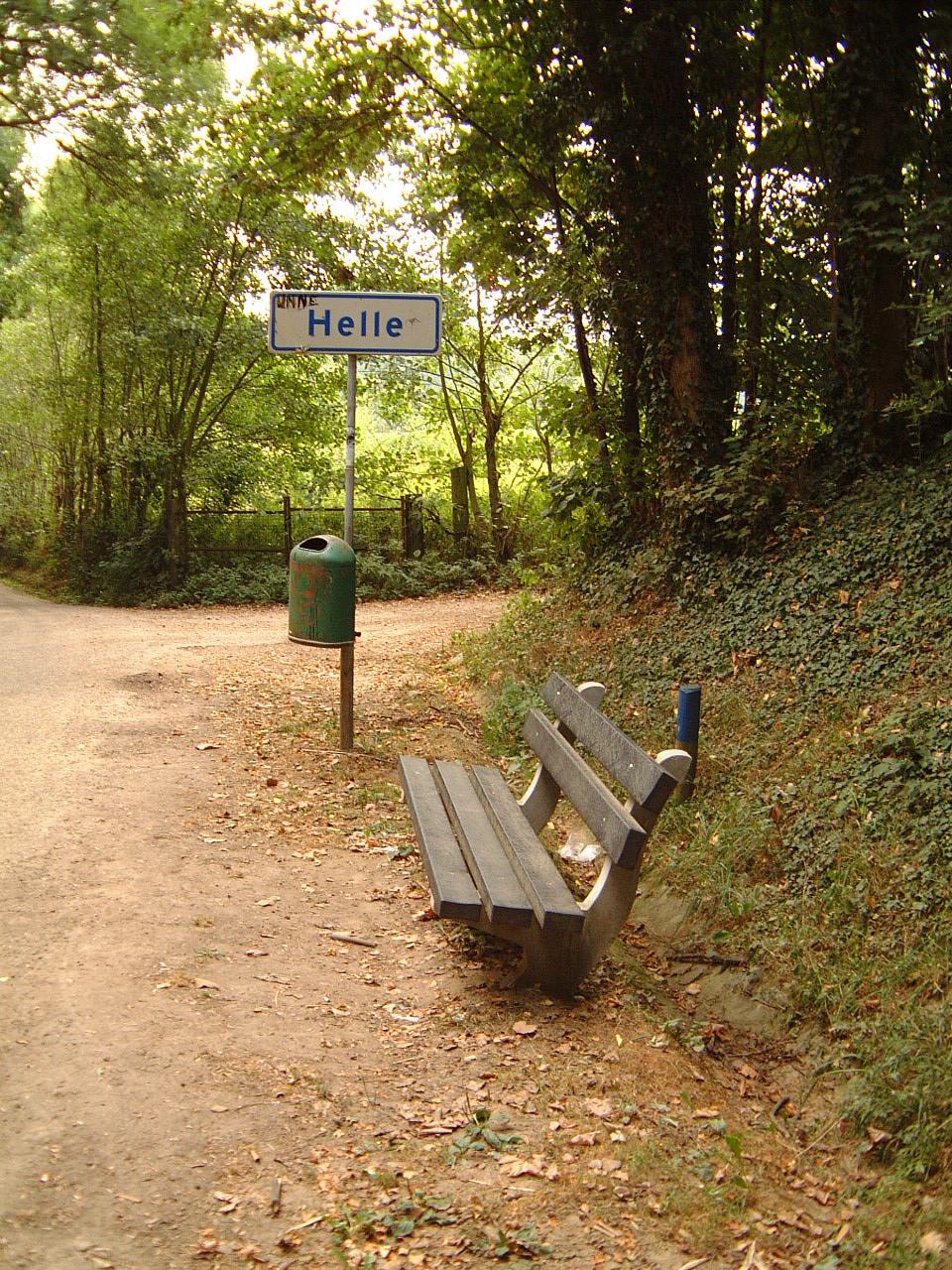 objects signs hell on earth helle wastebin dustbin bench landscapes forrest path