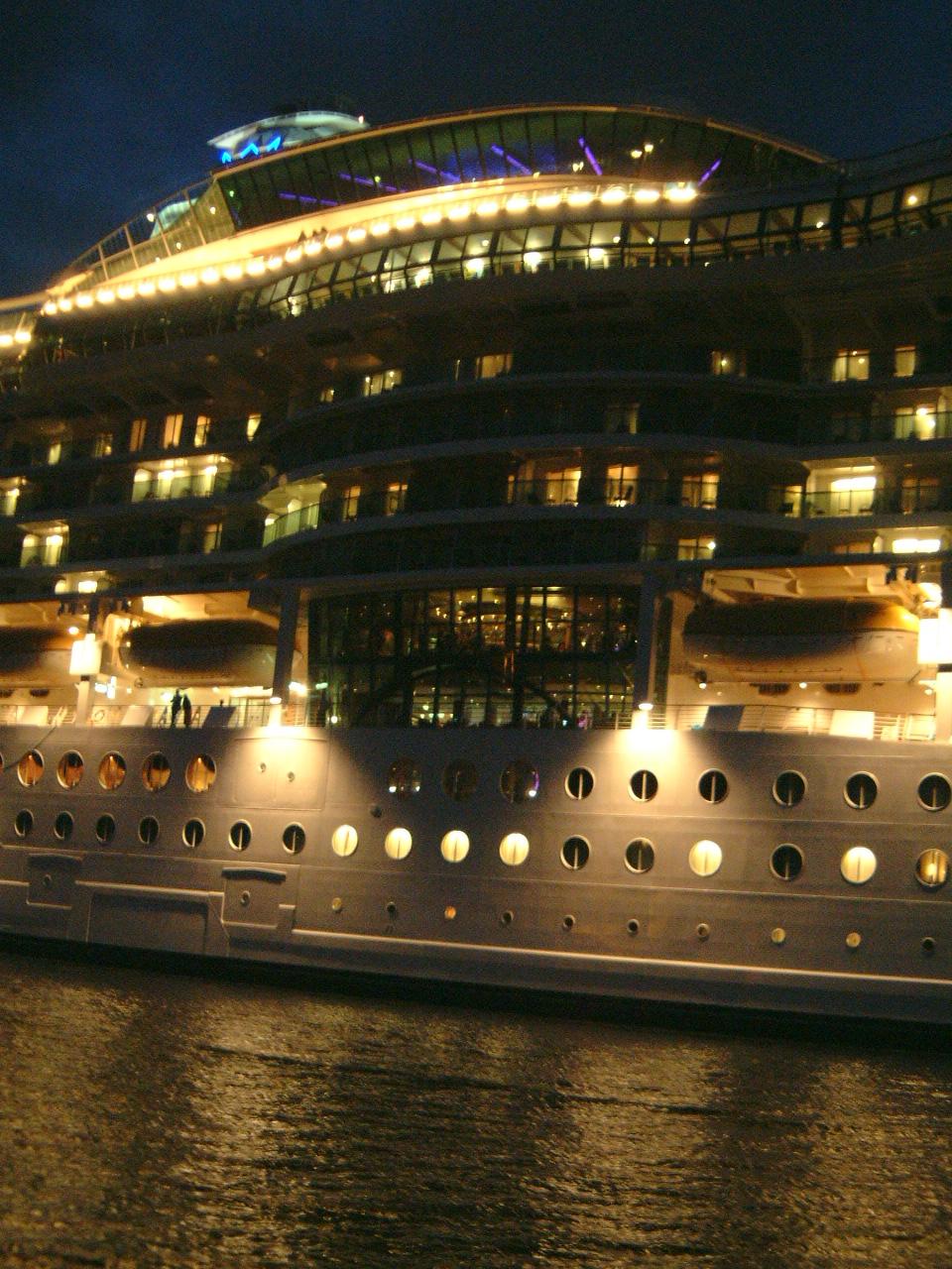 maartent cruise liner ship vacation holiday night lights recreation