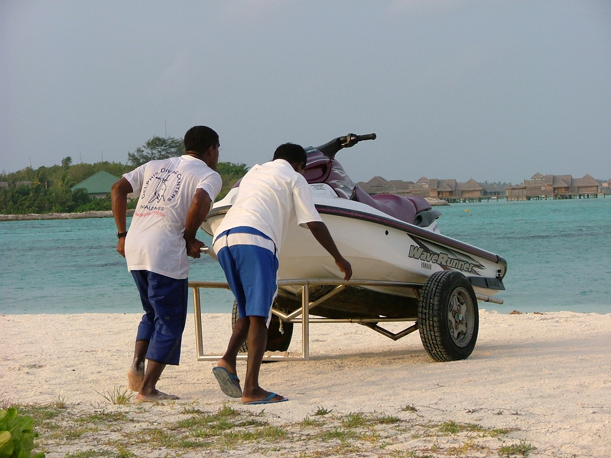 melvin nature characters humanoids vehicles water waterscooter jetski two men pushing a cart beachscape maladives