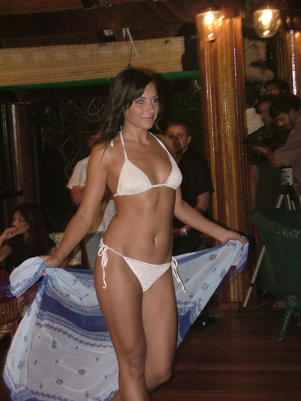 nature characters humanoids melvin show model woman beachwear bikini underwear front catwalk mode sarong press walking