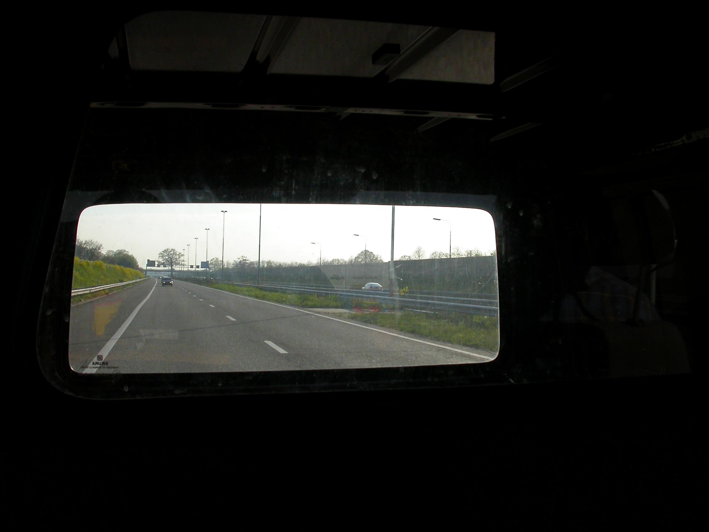 paul rear view window road car