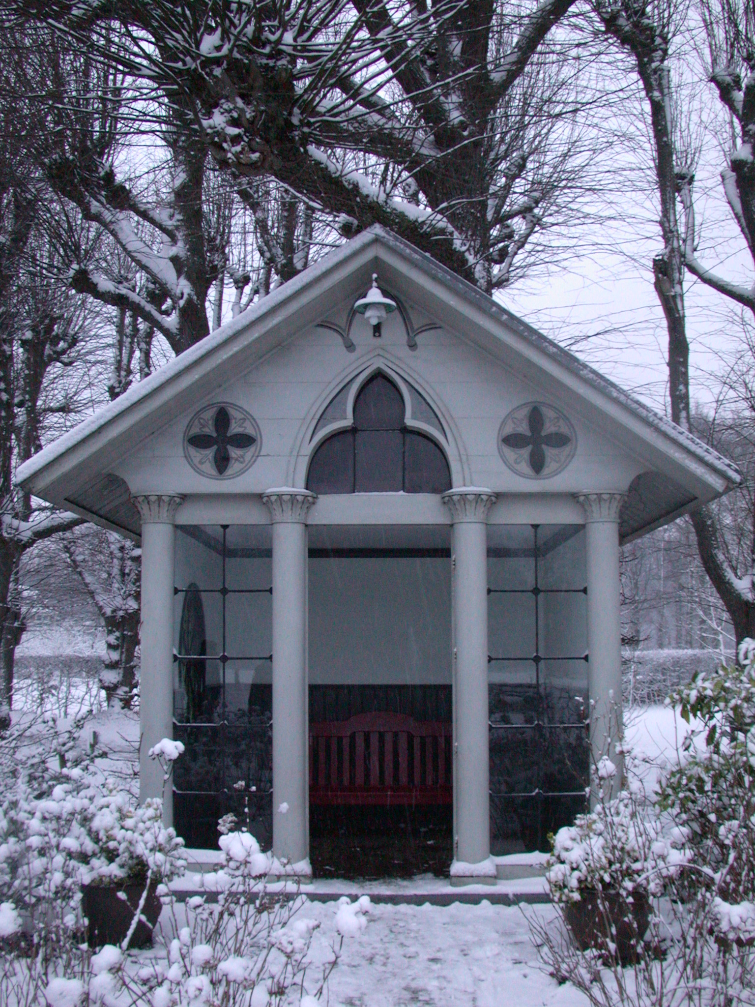 winter winter snow cold trees glass panes reflection the perfect little house