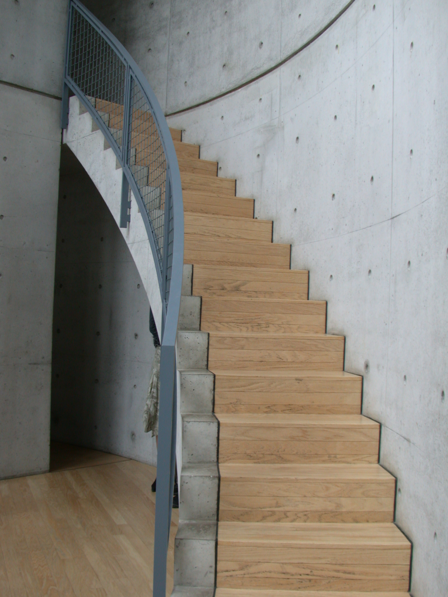 stairs stairway wood concrete brown gray
