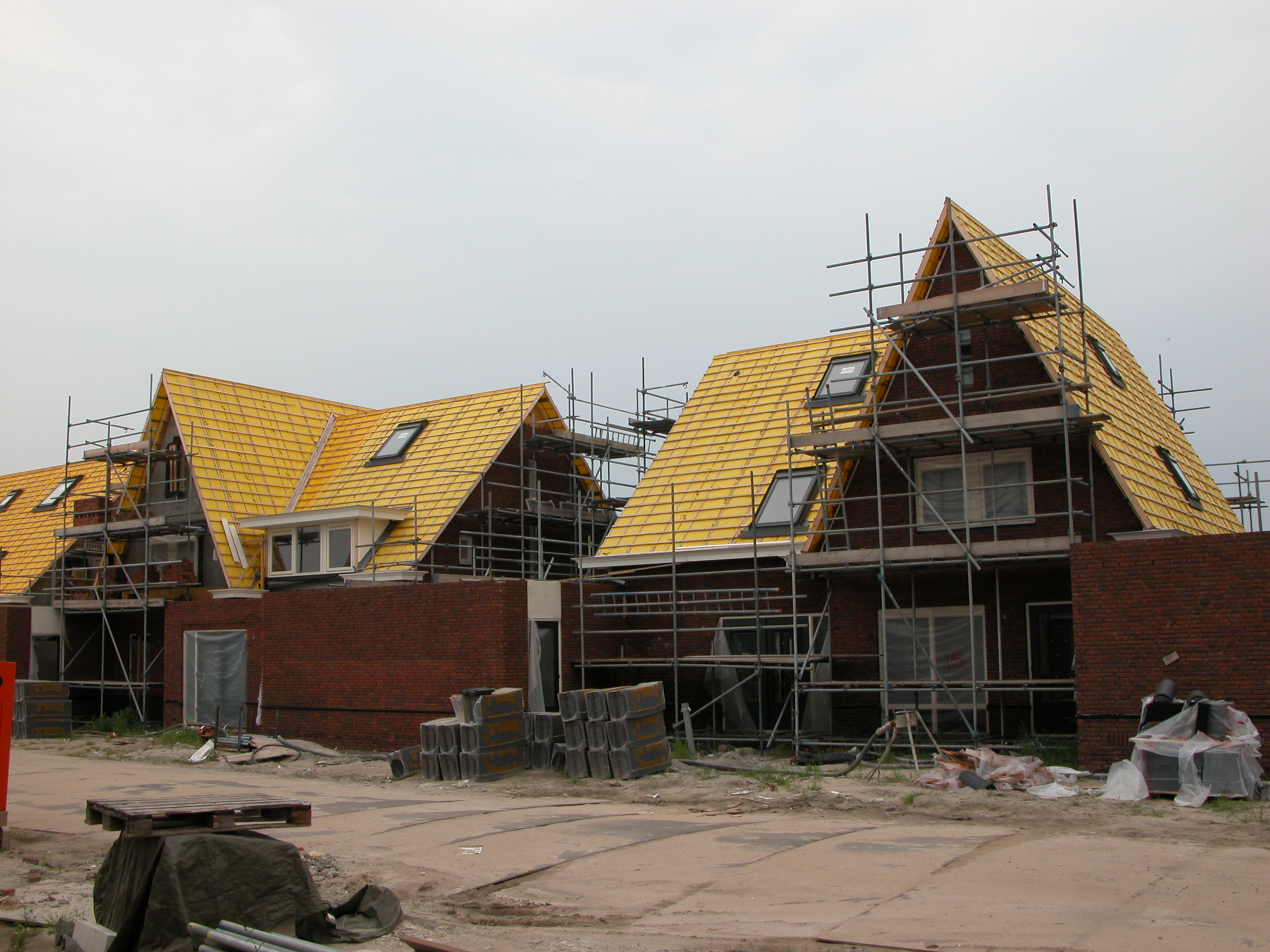 newly built houses under construction house