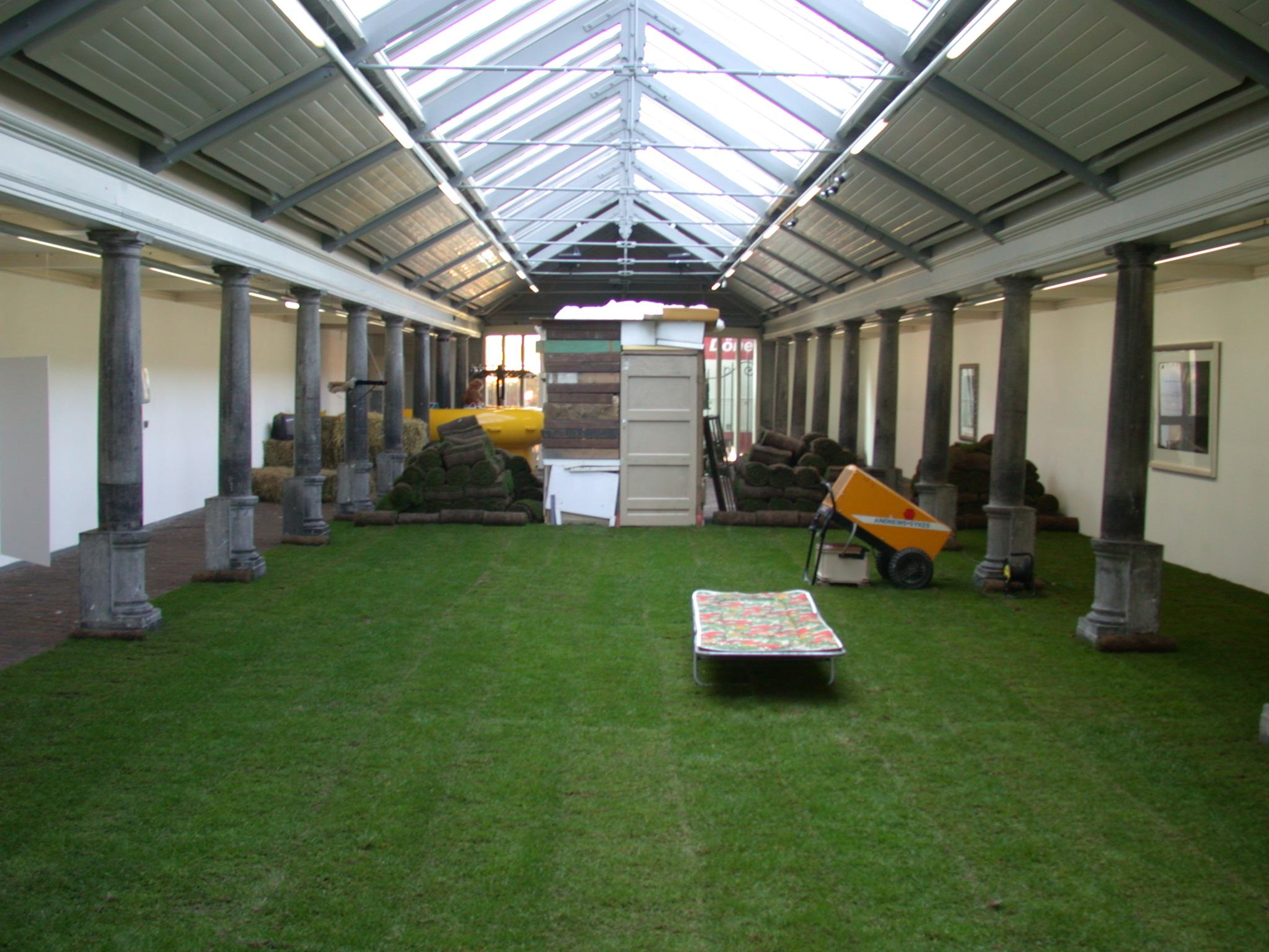 indoor grass field rolls of grass pillars