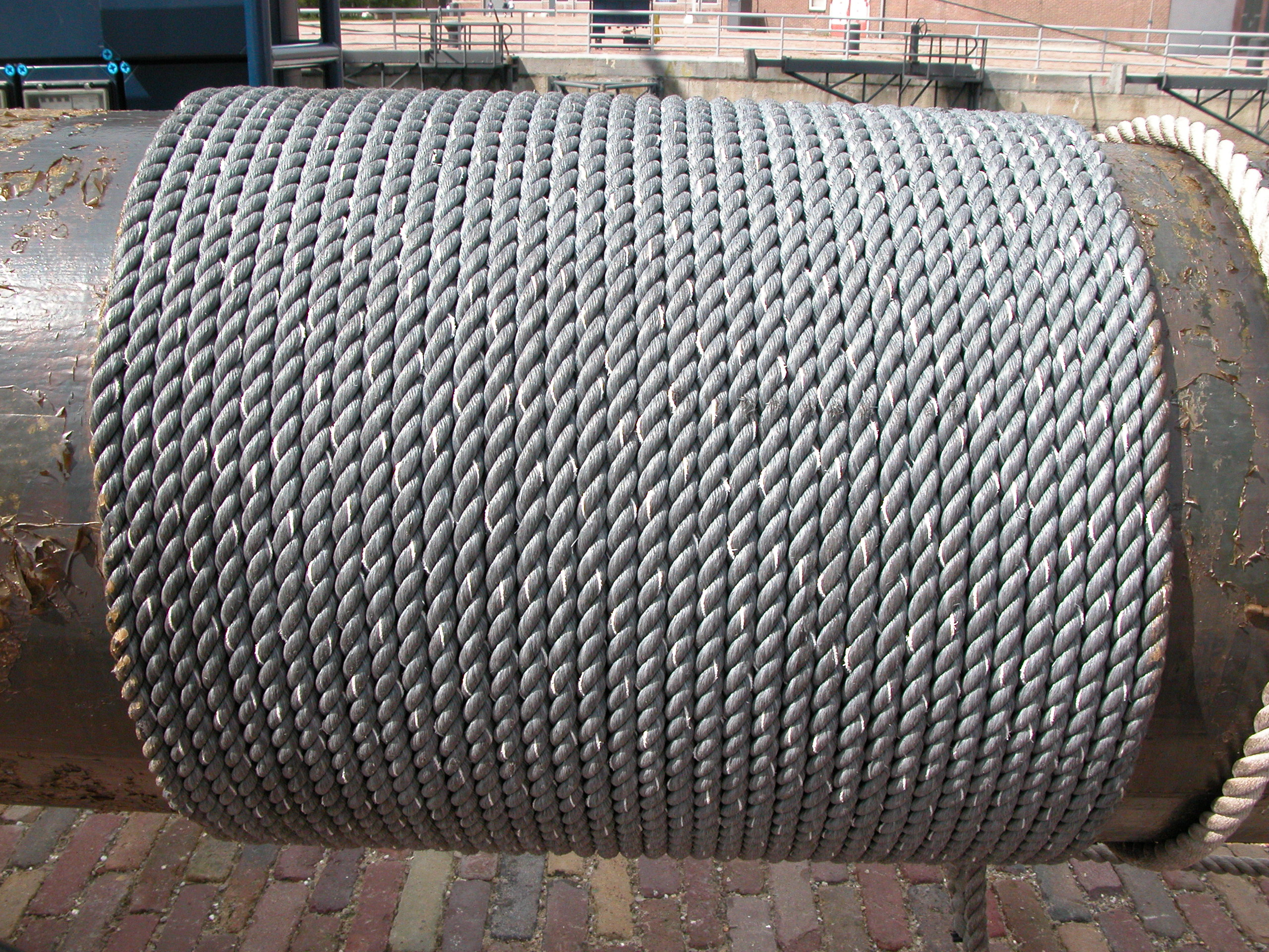 rope cable on a pole ship ropes