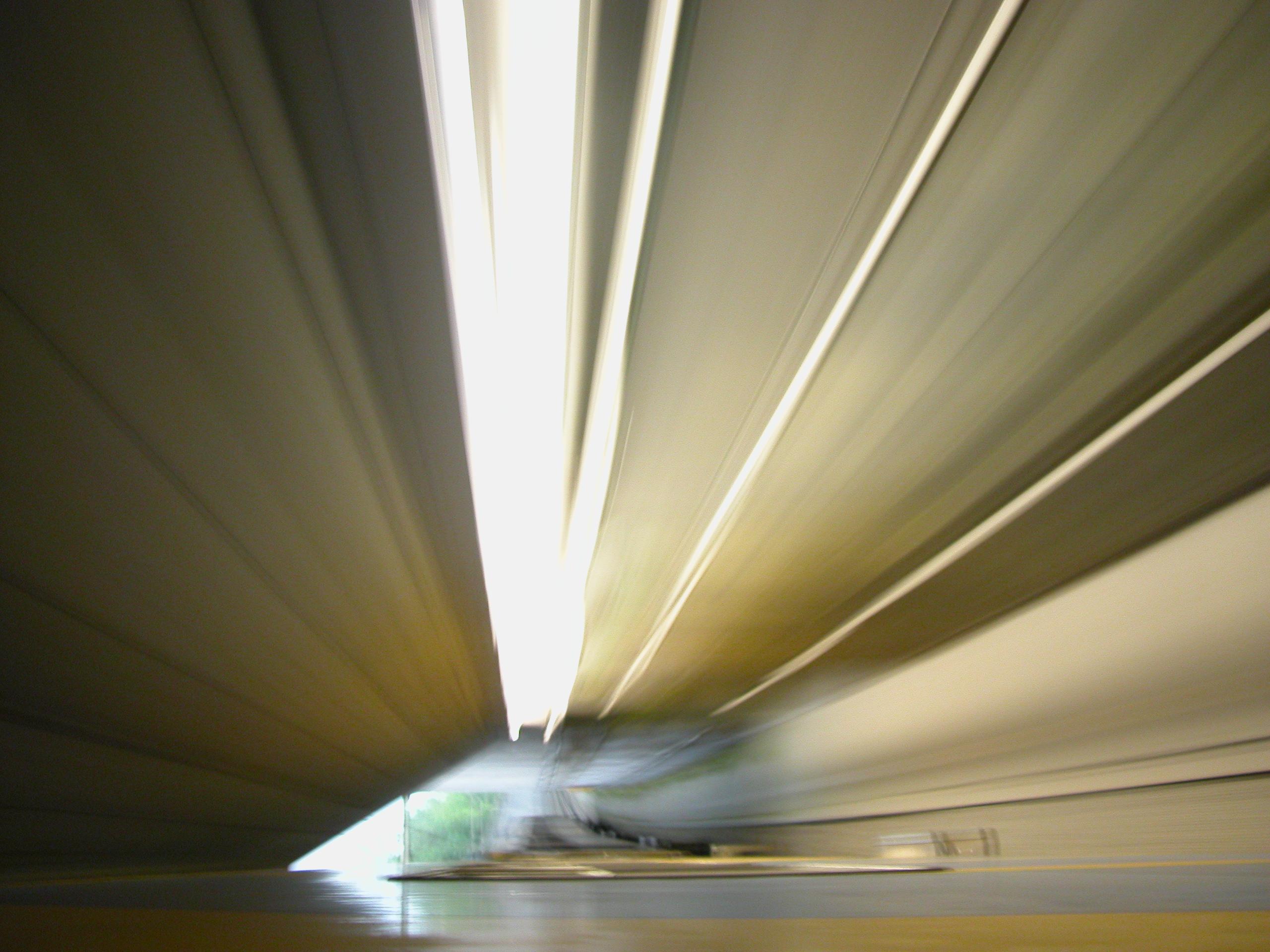 speed tunnel yellow light beams