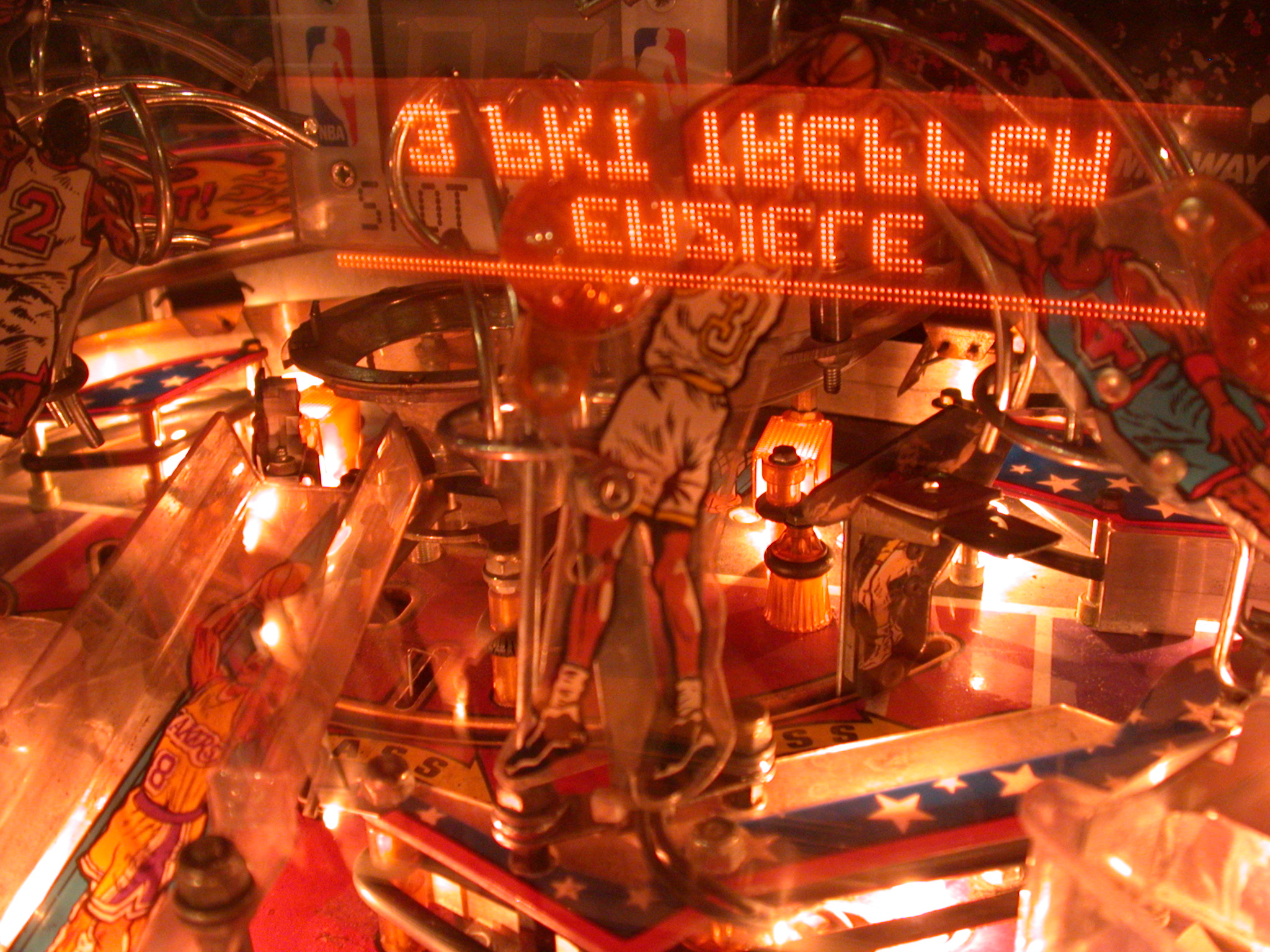 pinball machine orange lights NBA game