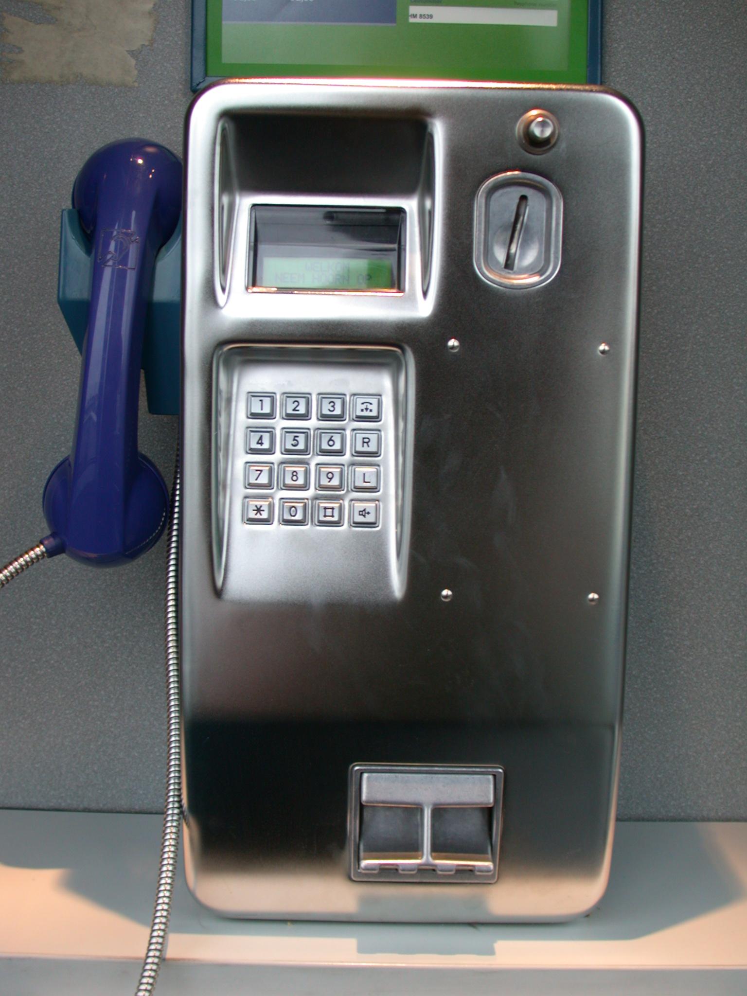 pay phone calling communication chrome