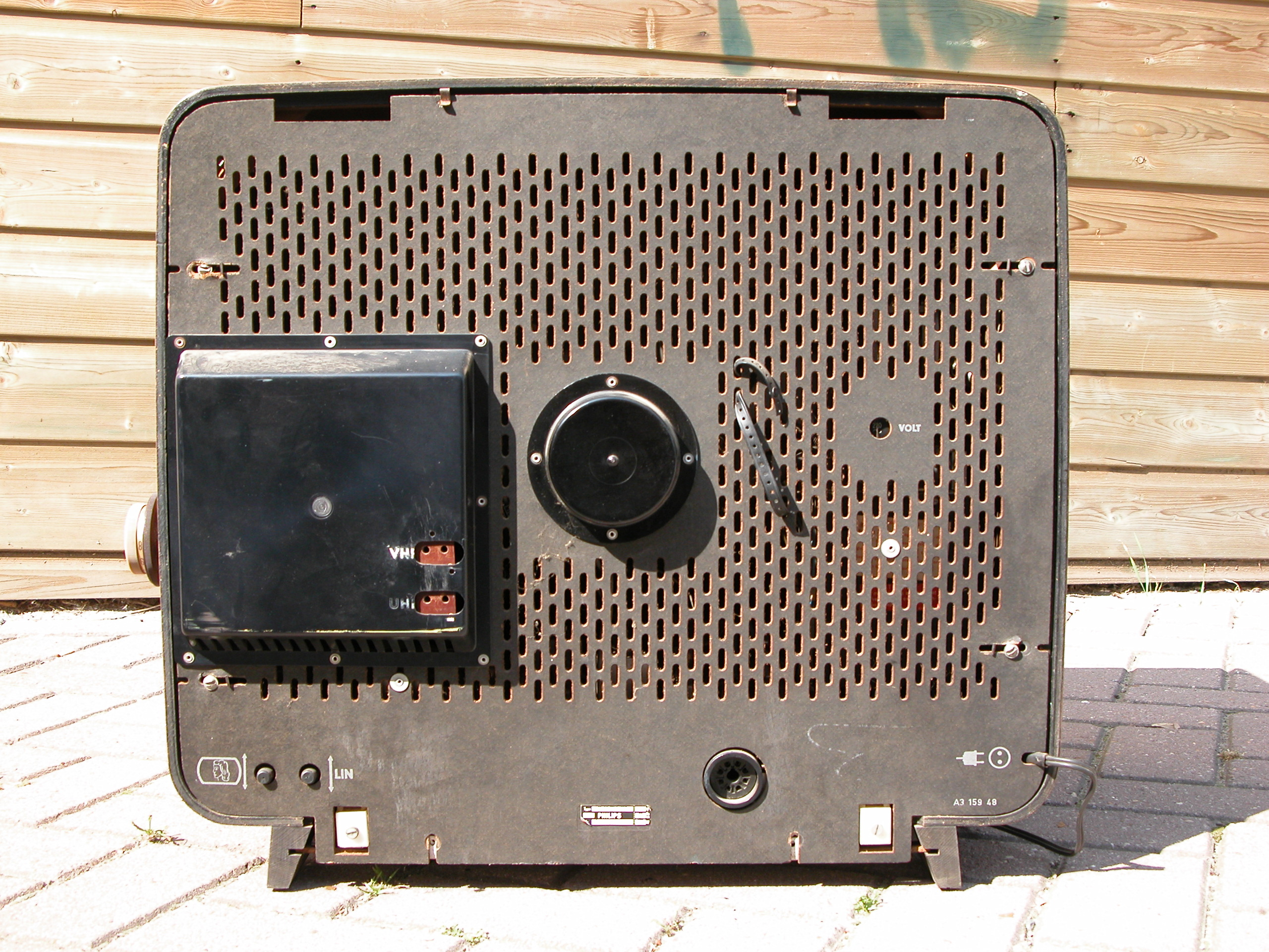 back of a old philips television or radio