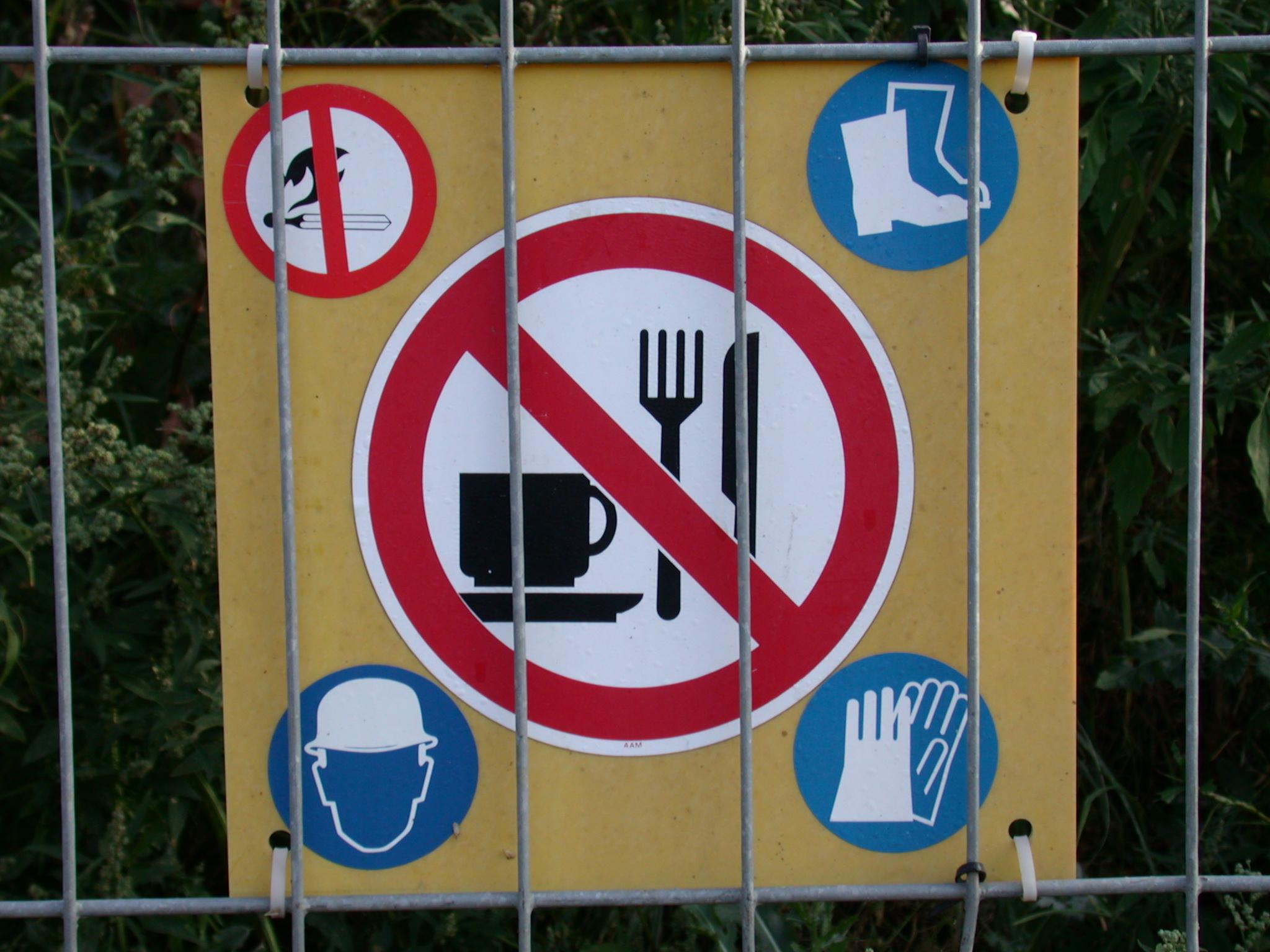 sign signs warning no smoking food hard hat safety