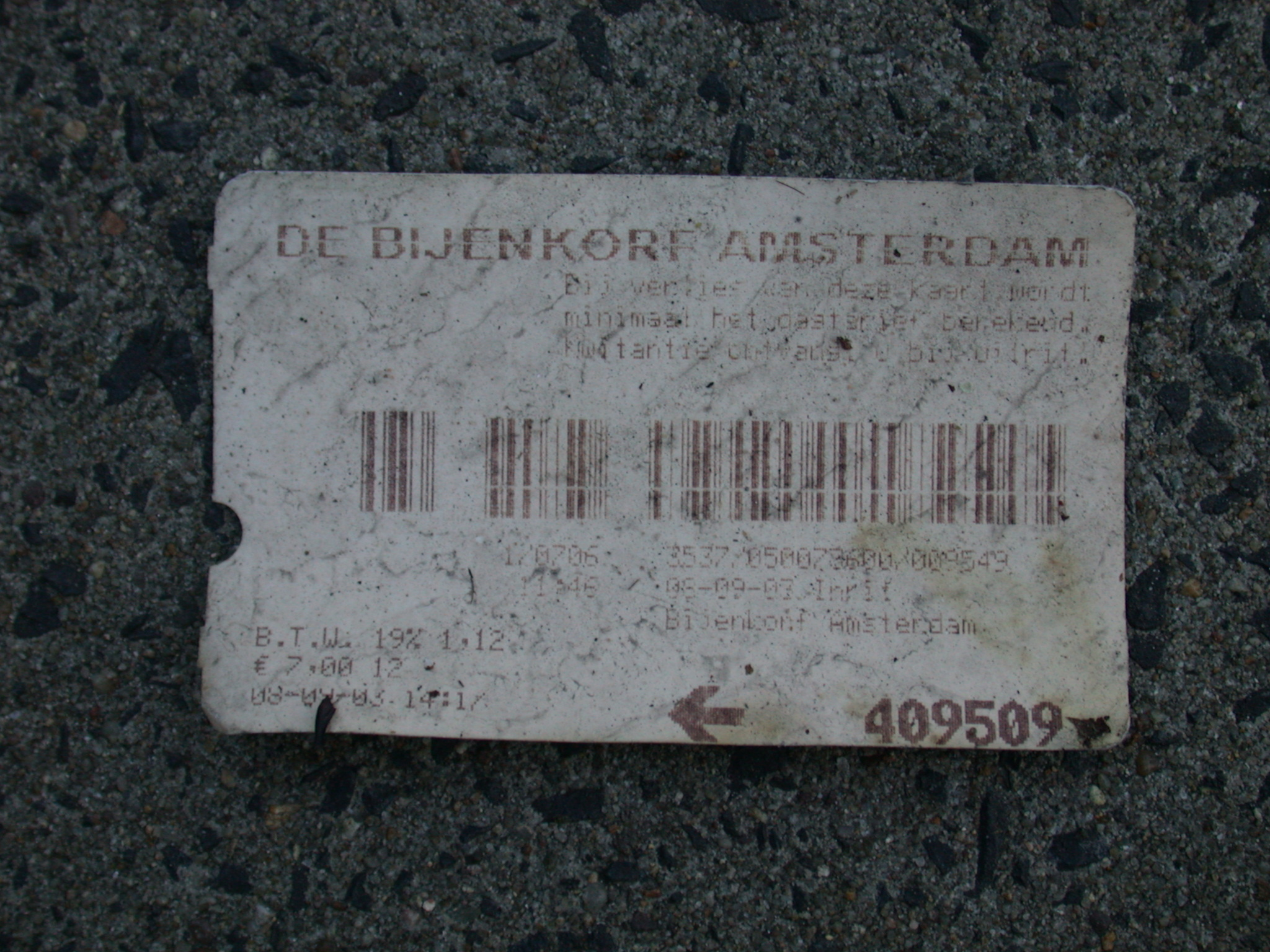 parking ticket de bijenkorf square piece of paper barcode royalty free
