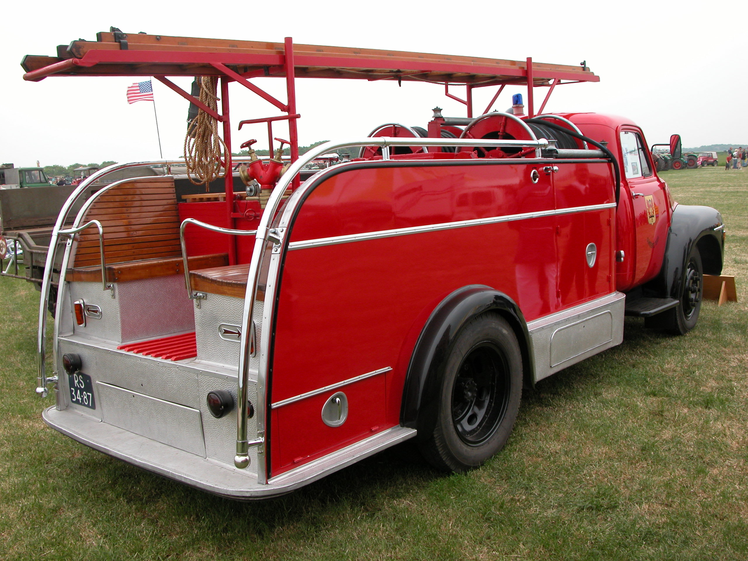 old time fire truck red vehicle car shiny chrome