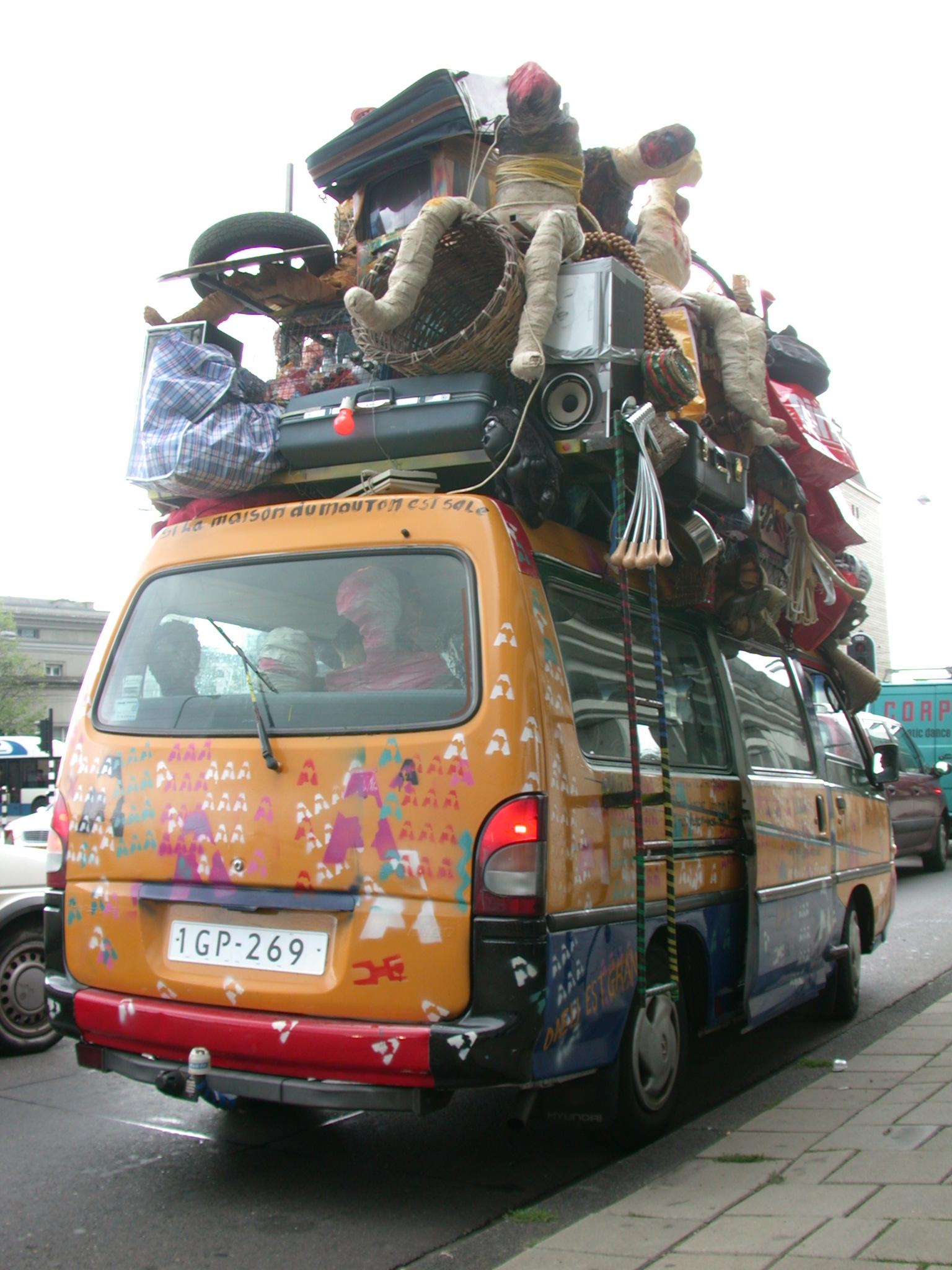 vehicles land taxi art african car van luggage baggage jampacked royalty-free