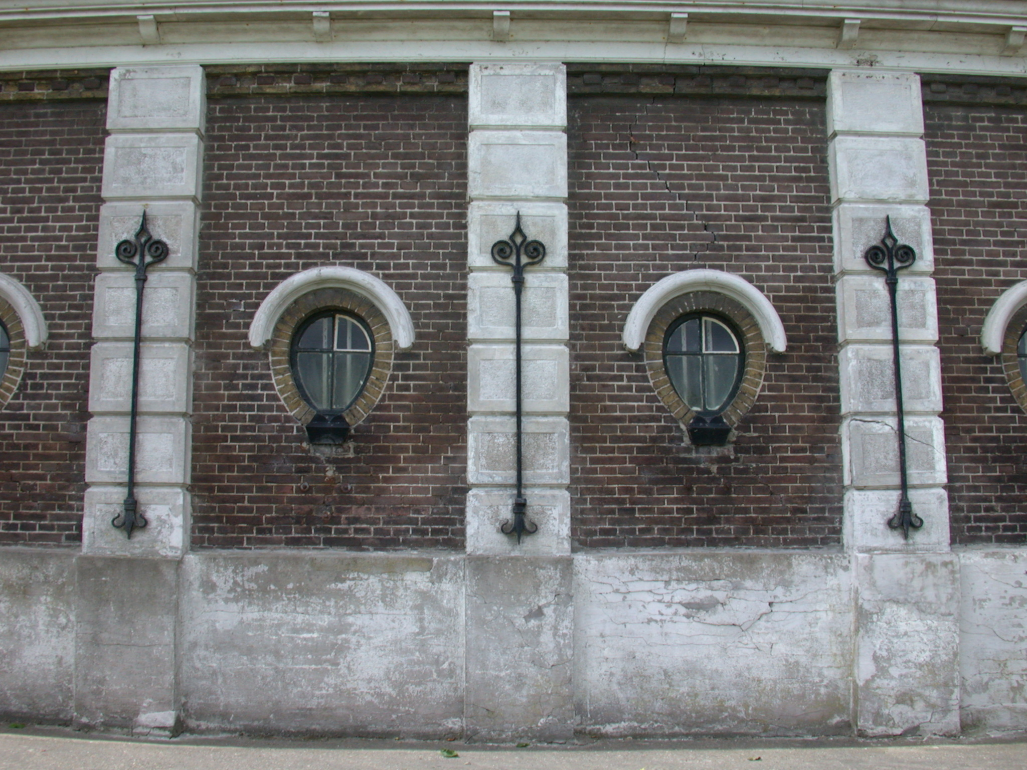 wall of classic building bricks windows