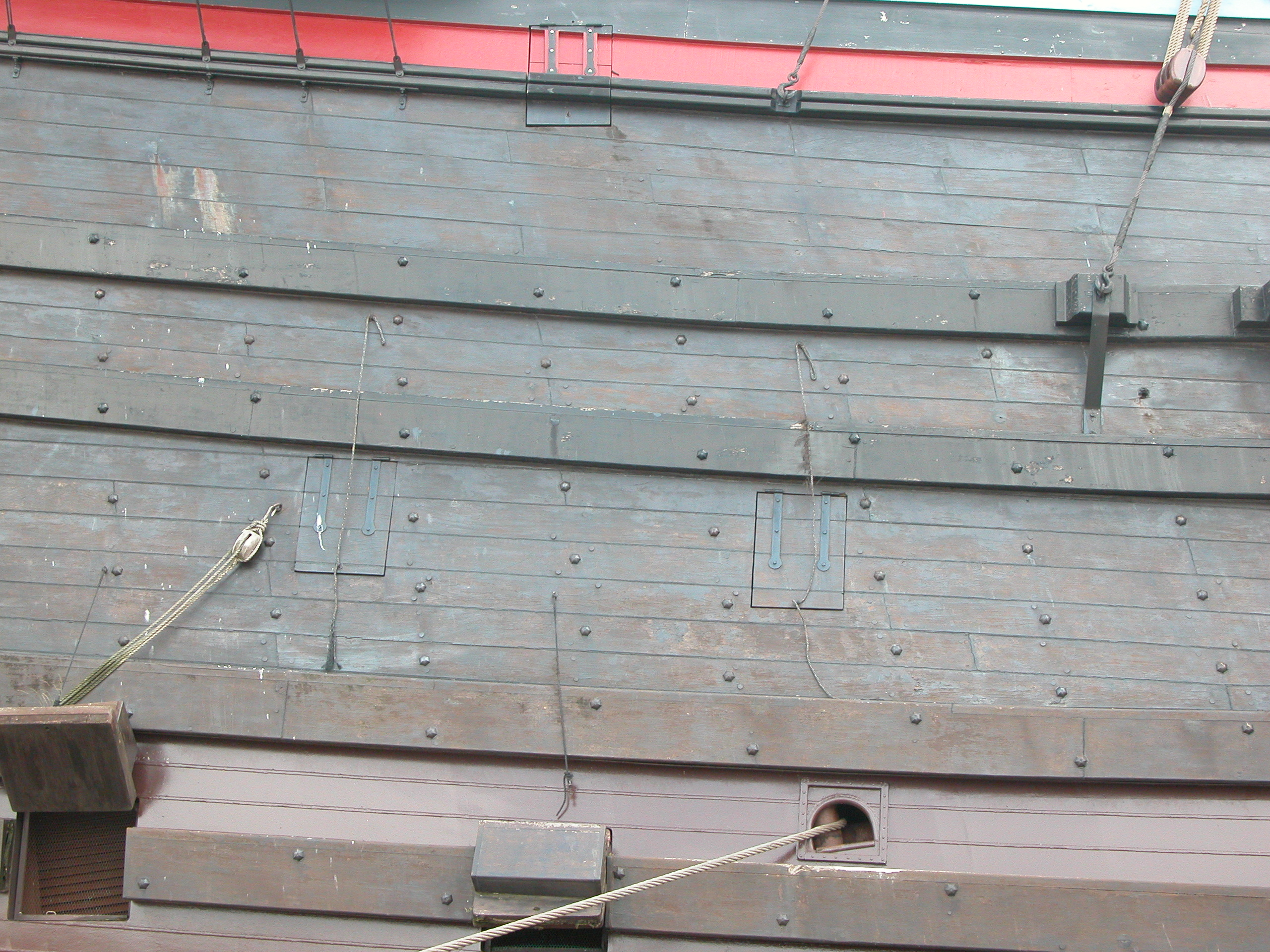 side hull of a VOC ship wood plank boards wood