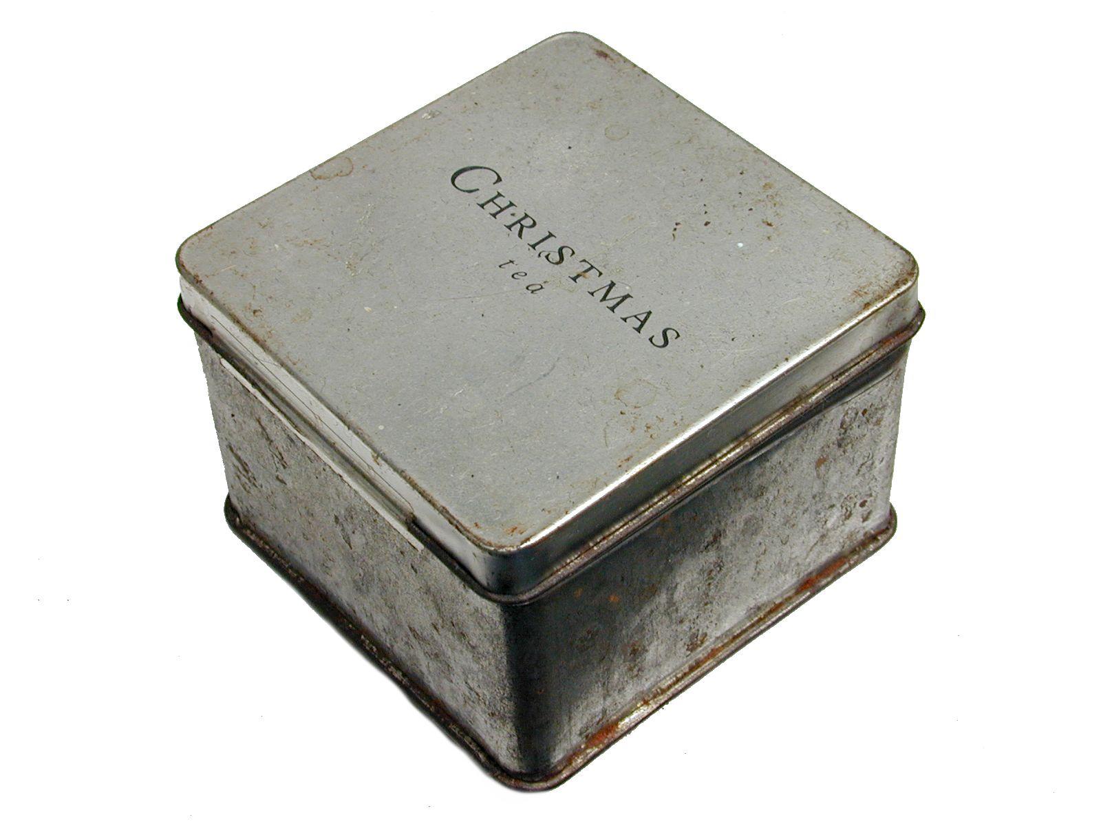 box metal tea christmas typo typography antique cutout rust kitchen storage can tin