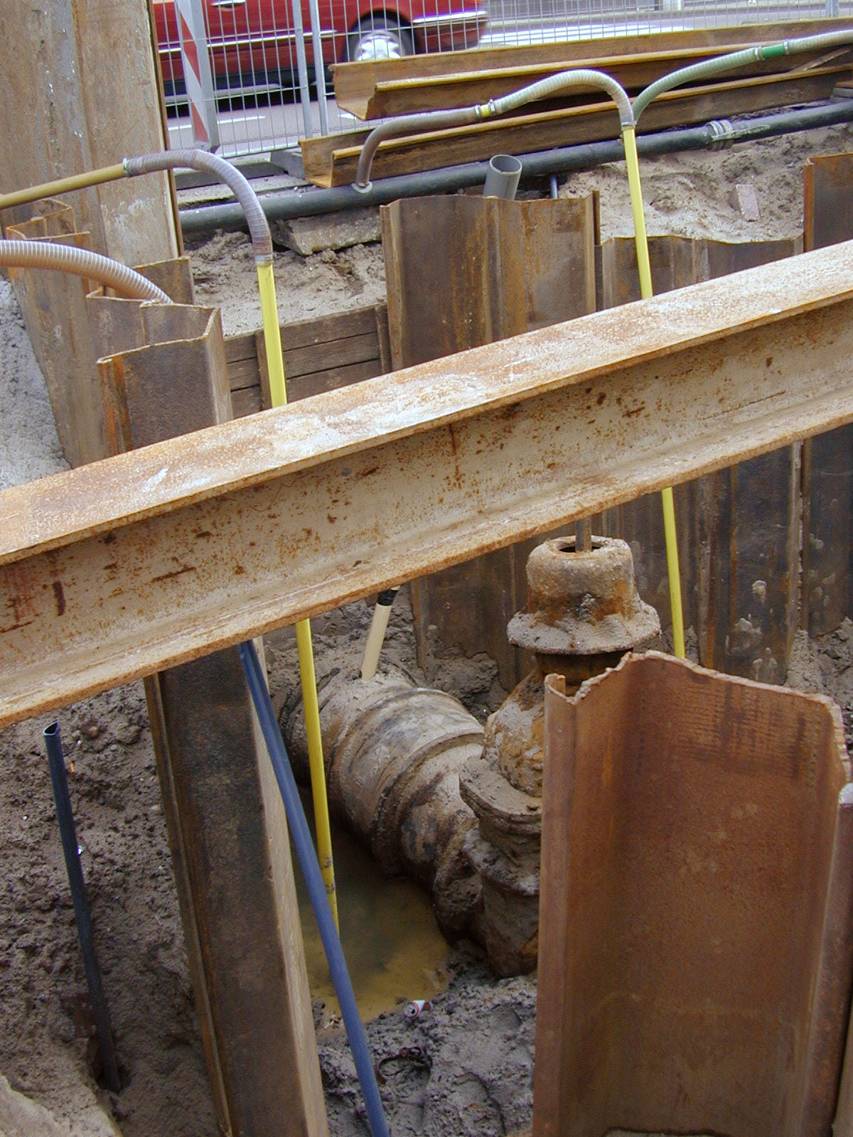 industry building site metal rusty tubes drainage construction