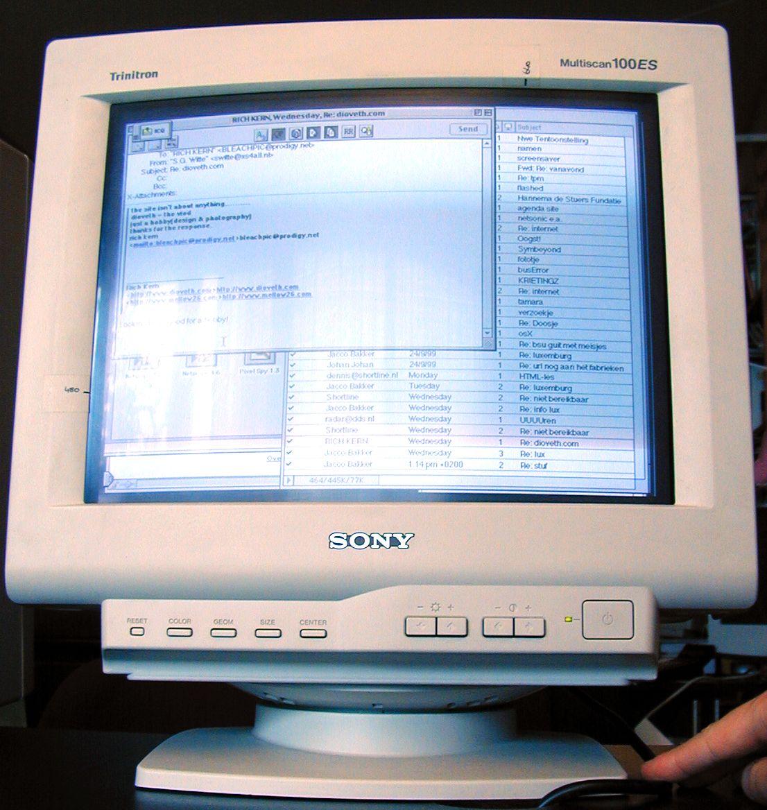 monitor sony trinitron mac apple buttons screen 14 15 inch display